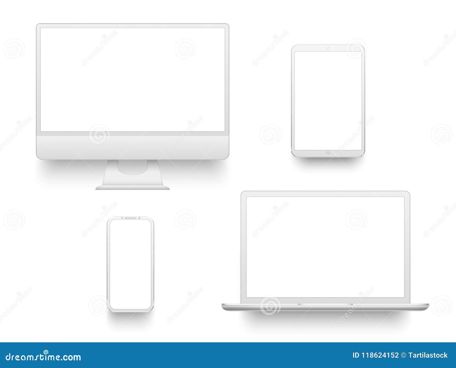 Cuaderno portátil u ordenador portátil de equipo de escritorio de visualización de la pantalla de la tableta blanca del smartphon