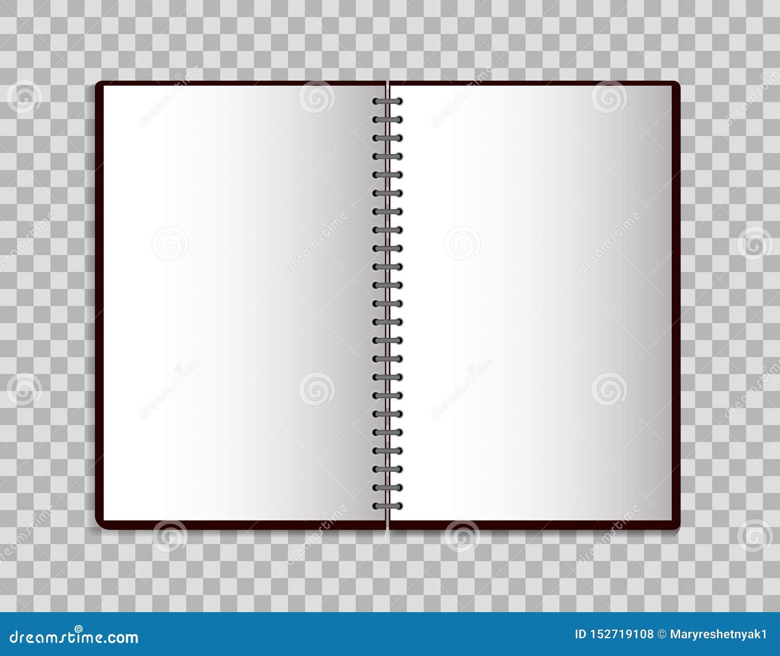 Cuaderno realista en estilo de la maqueta Libreta en blanco abierta con espiral Plantilla de la libreta vacía en fondo aislado Ve