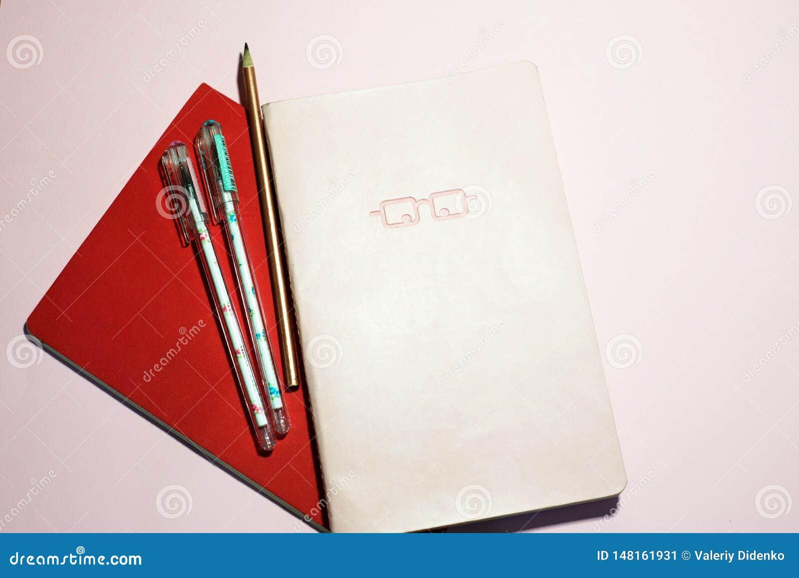 Cuadernos en un fondo rosado