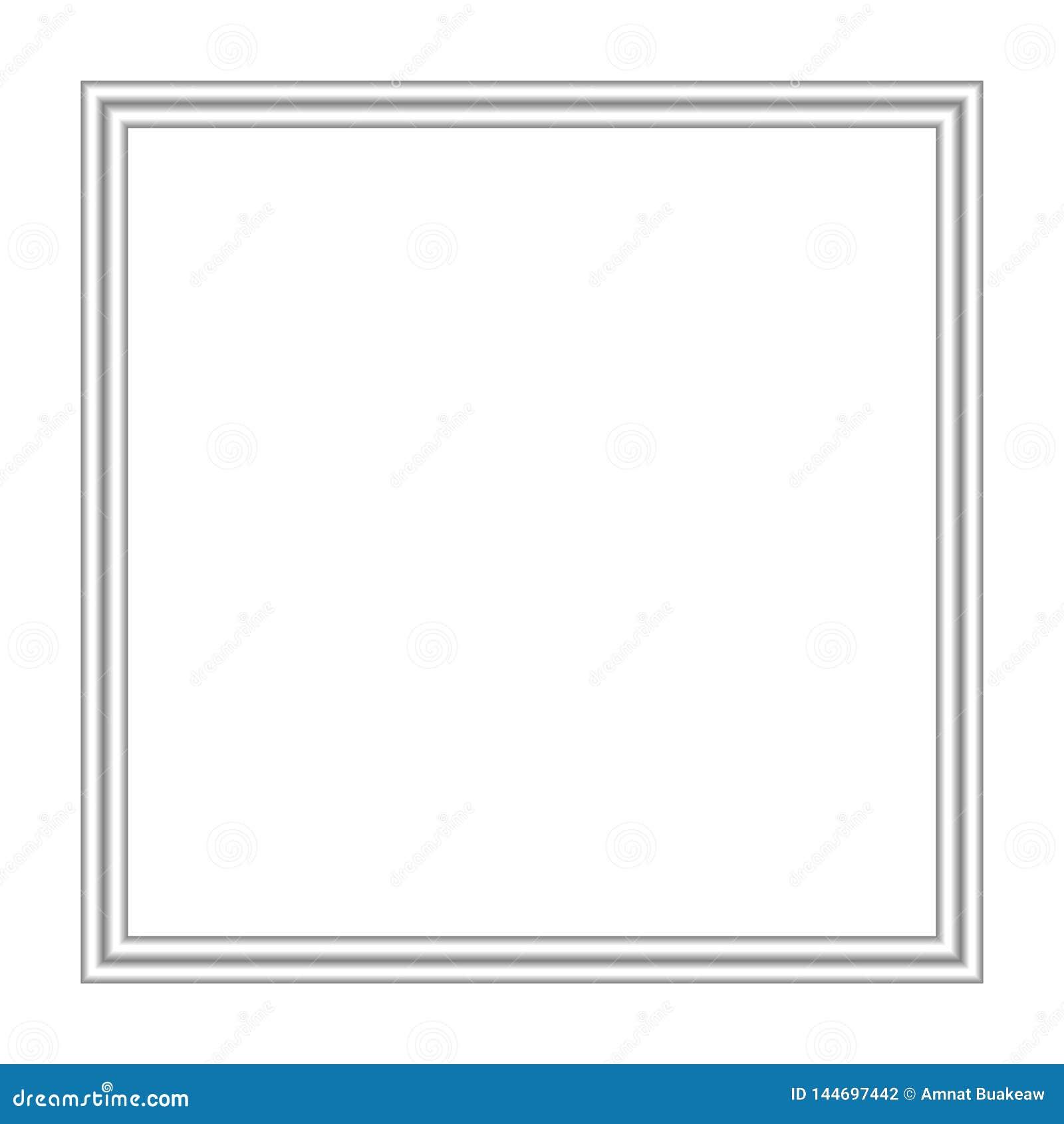 Cuadrado de plata del marco aislado en el espacio blanco del fondo y de la copia, marco inoxidable en blanco para el anuncio de l