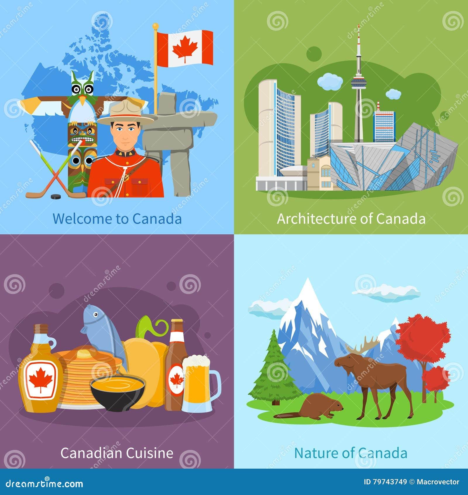 Cuadrado plano de los iconos del viaje 4 de Canadá