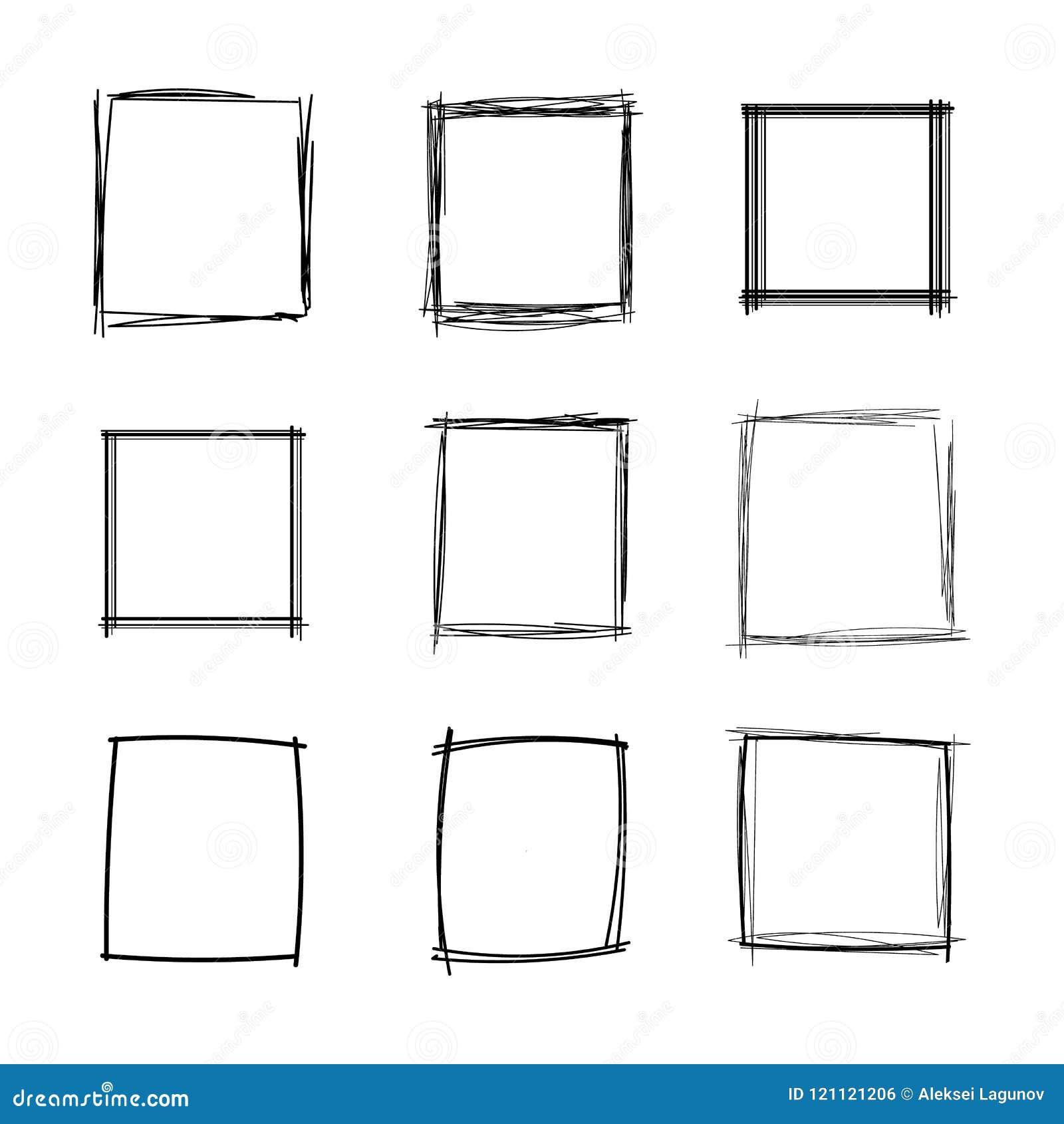 Cuadrados fijados, colección en blanco de los marcos, formas geométricas del garabato del vector del garabato negro aislada