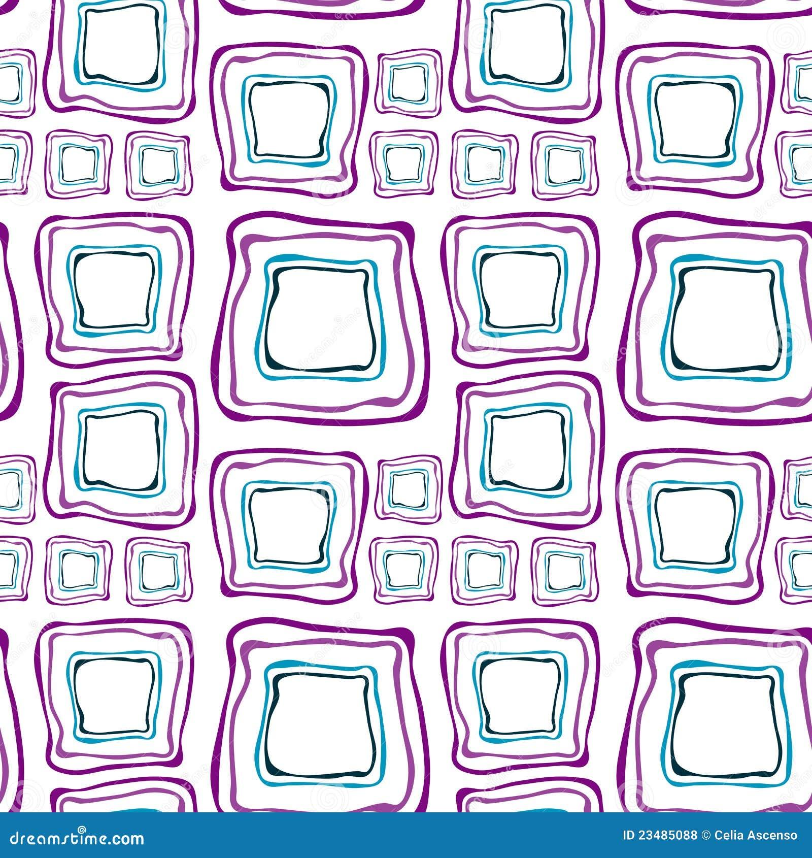 Cuadrados retros inconsútiles púrpuras y azules