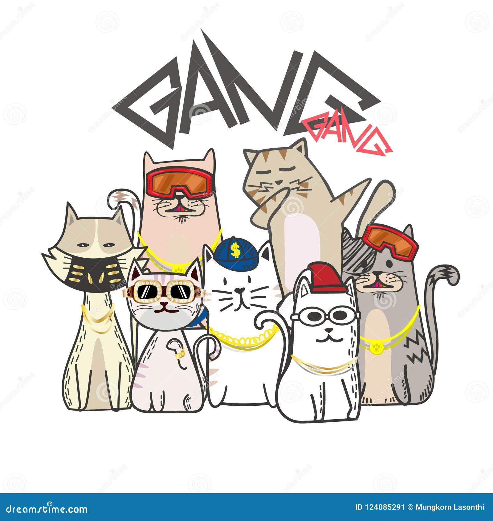 Cuadrilla linda del gato con la historieta dibujada mano Estilo del hip-hop