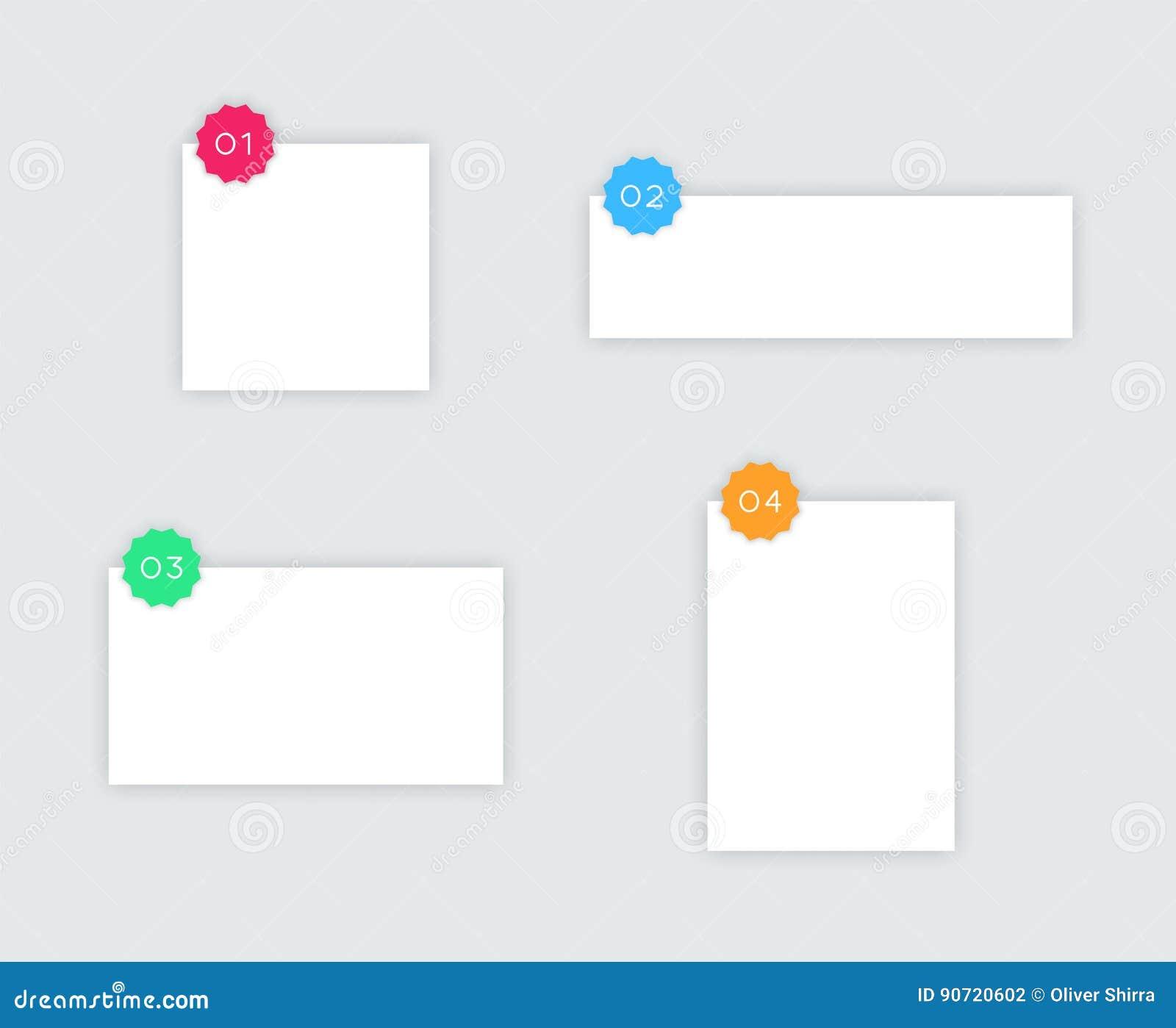1 A 4 Cuadros De Texto Blancos Simples Del Vector Con Las Insignias ...