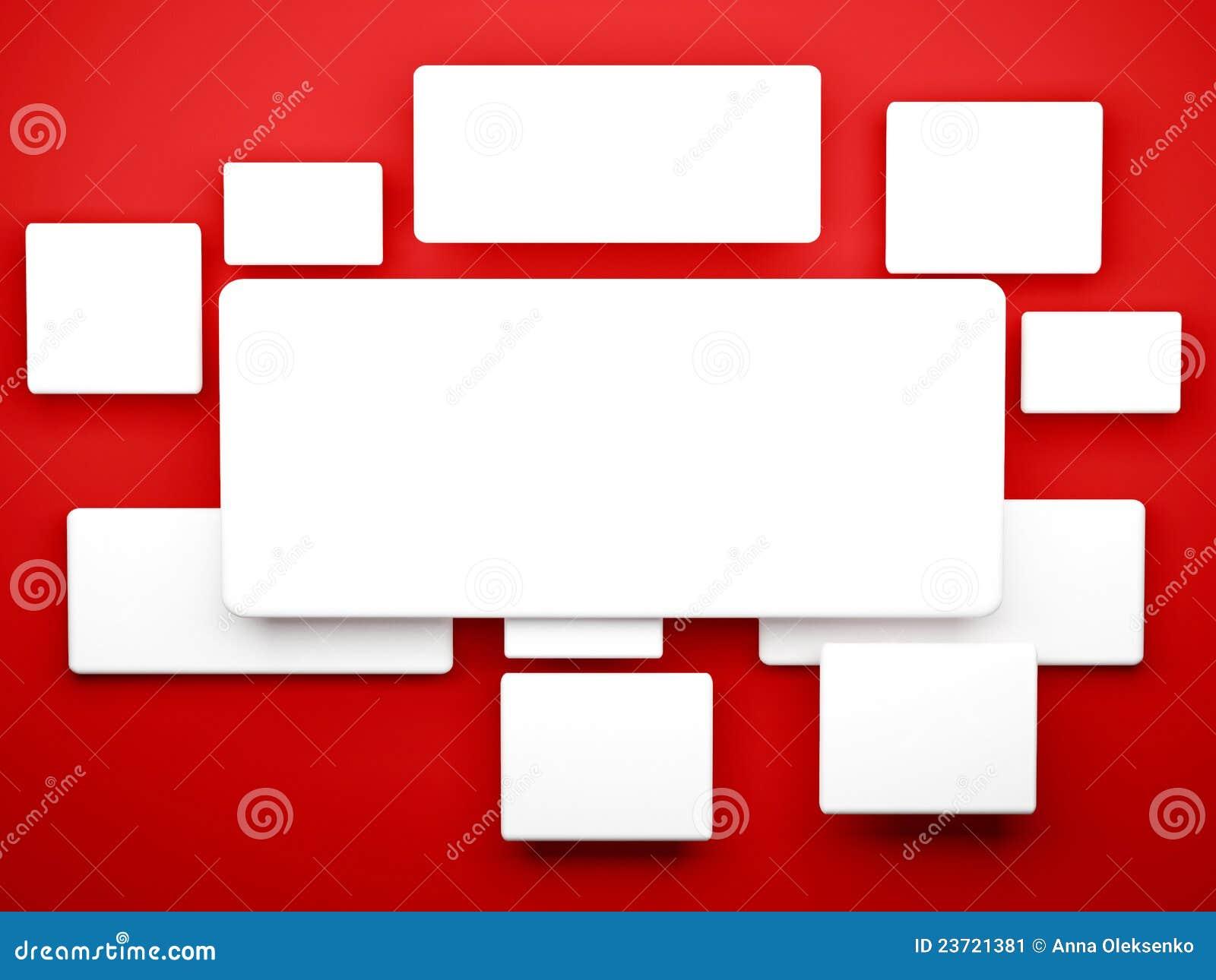 Cuadros en blanco blancos en la pared roja stock de - Cuadros para la pared ...
