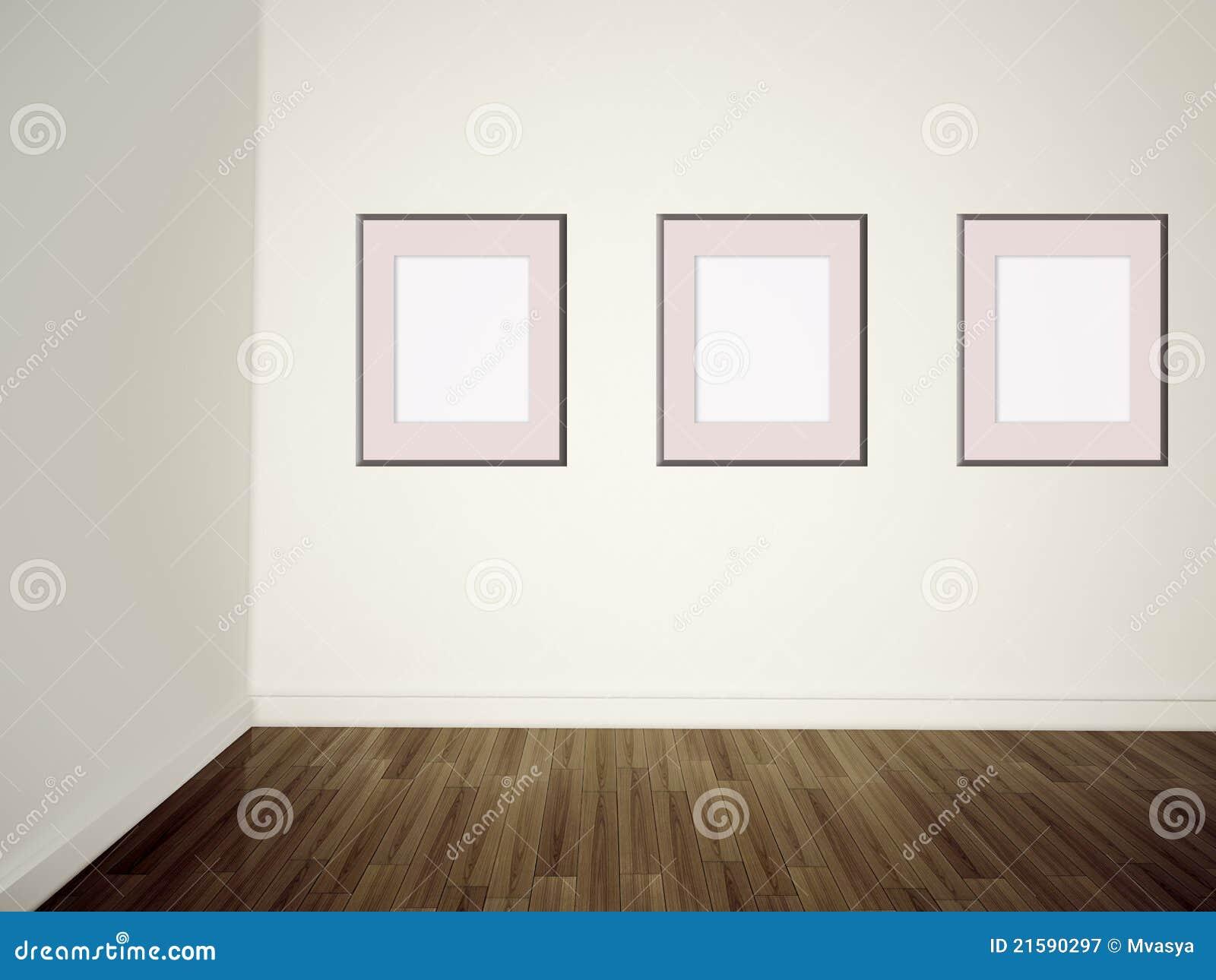 Cuadros vac os de la galer a de arte moderno en una pared - Cuadros murales para pared ...