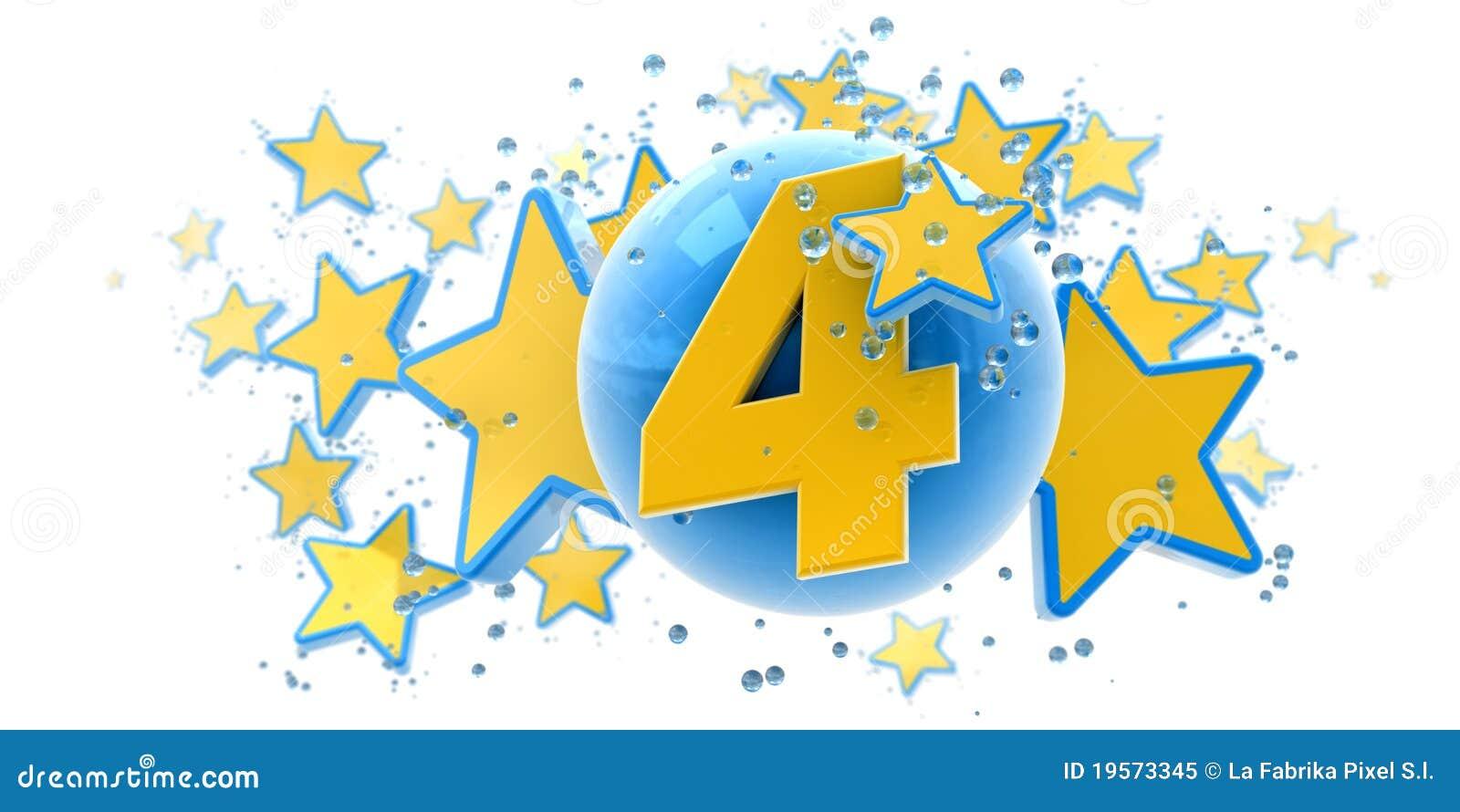 Cuarto aniversario azul y amarillo foto de archivo libre for Cuarto aniversario