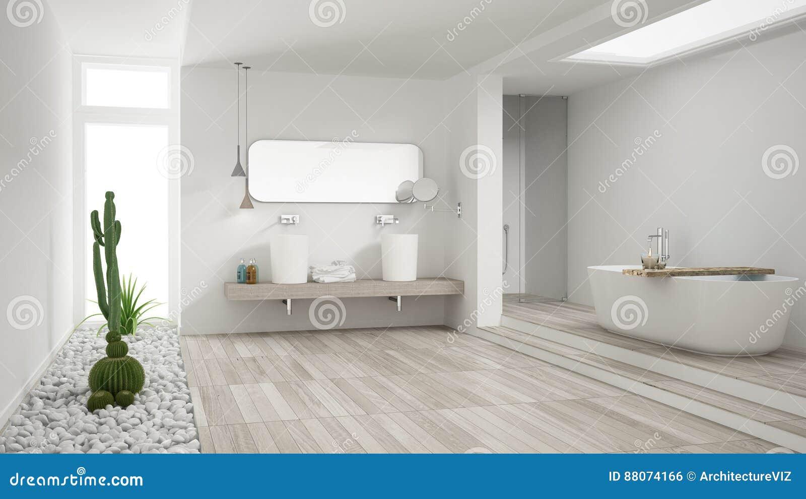 Cuarto de baño blanco minimalista con el jardín suculento, piso de madera