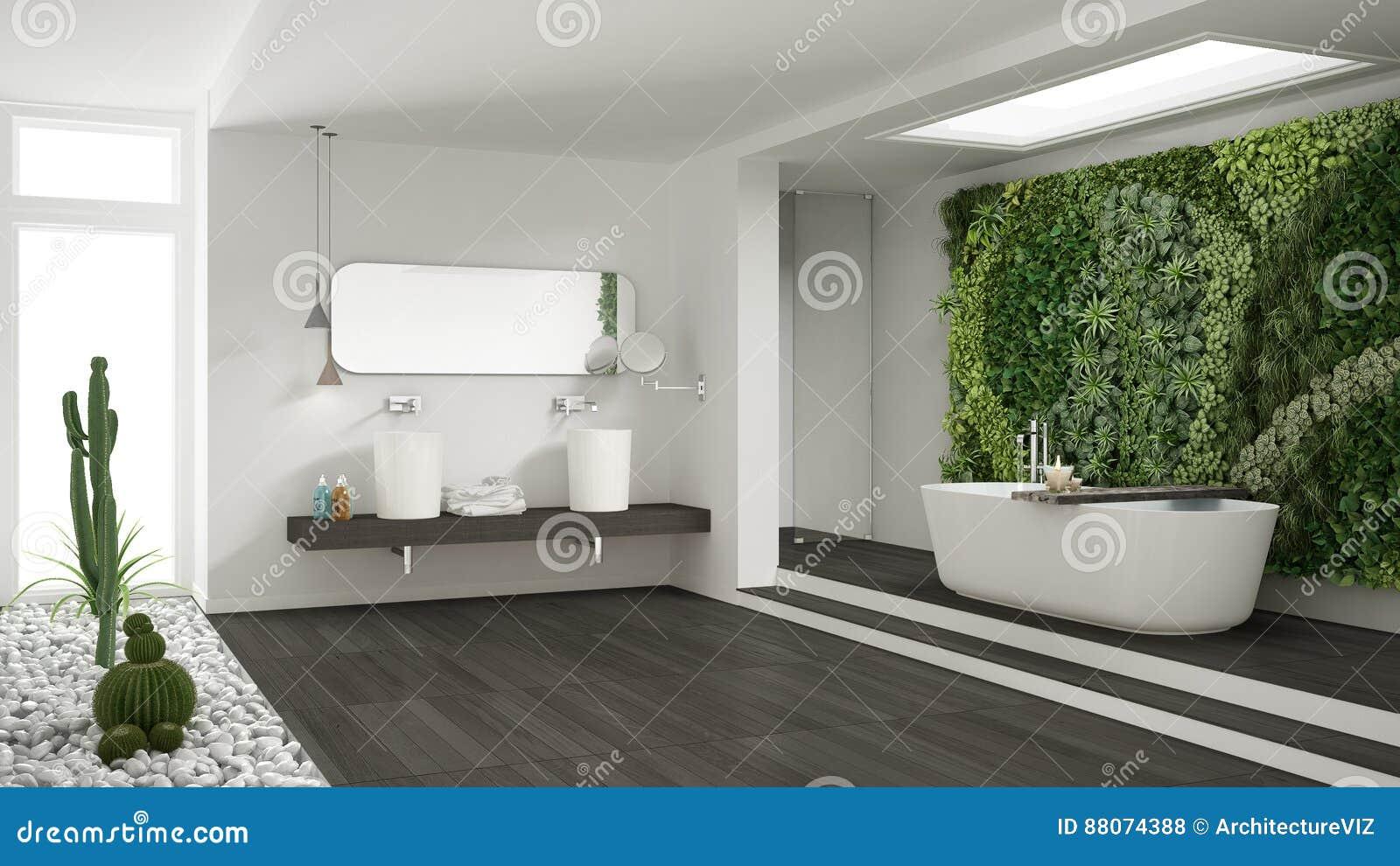 Cuarto de baño blanco minimalista con el jardín vertical y suculento, wo
