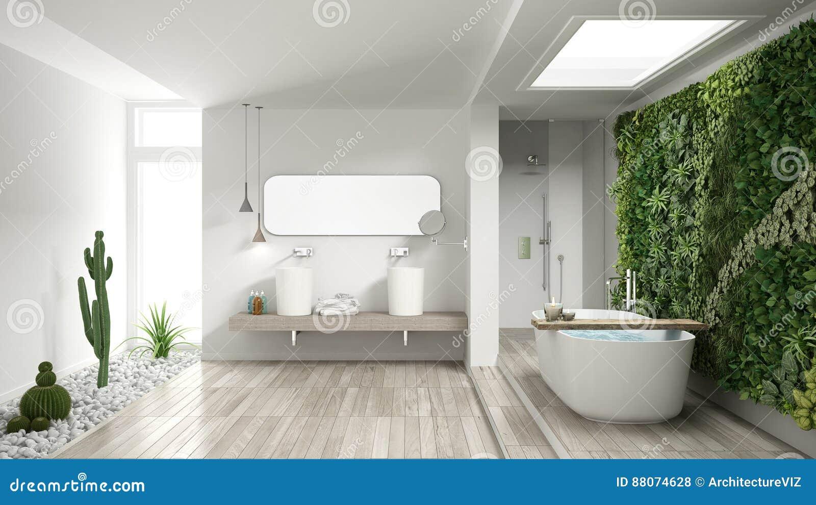 Cuarto De Baño Blanco Minimalista Con El Jardín Vertical Y ...