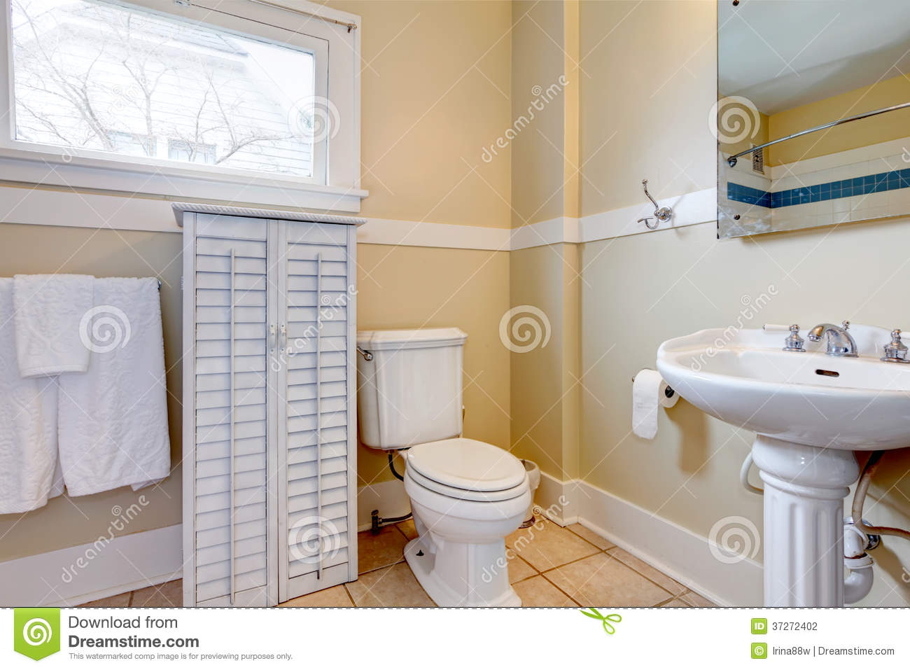 Baño Blanco Con Madera:Light Wood Cabinets White Tile Bathroom Floor