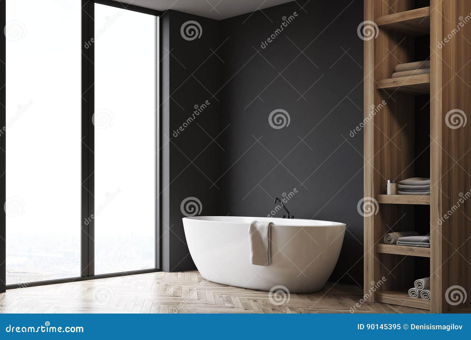 Cuarto De Baño Con El Armario Y La Pared Negra, Lado Stock ...