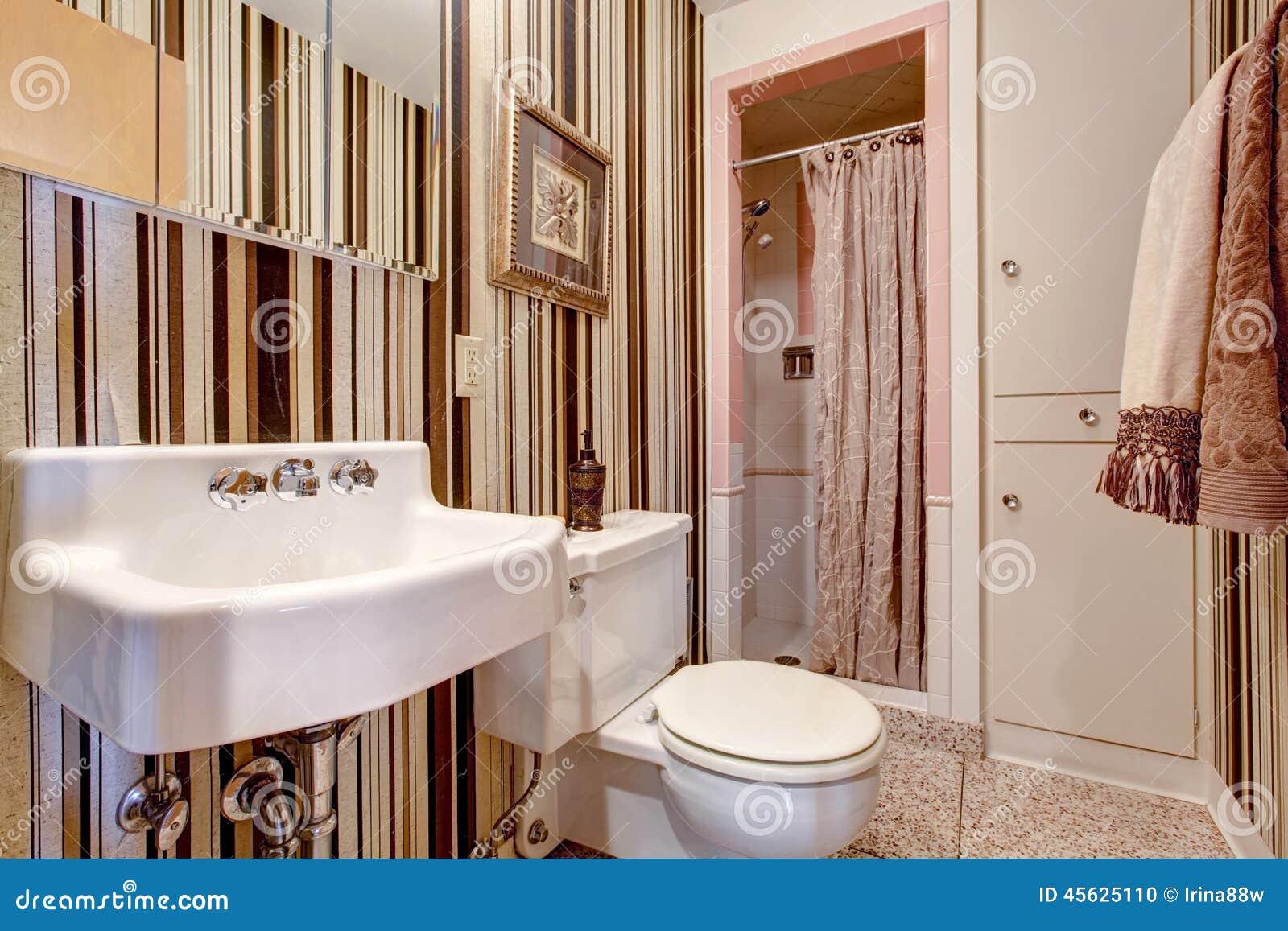 Cuarto De Baño Con El Papel Pintado Pelado Marrón Foto de archivo ...