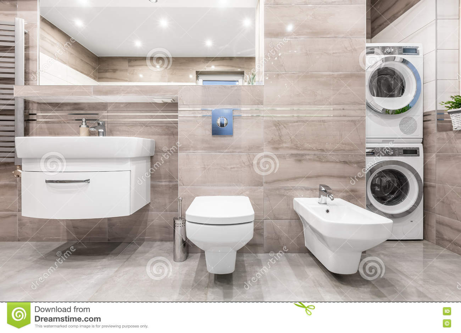 Cuarto de ba o con idea del lavadero foto de archivo for Lavadero de bano precio