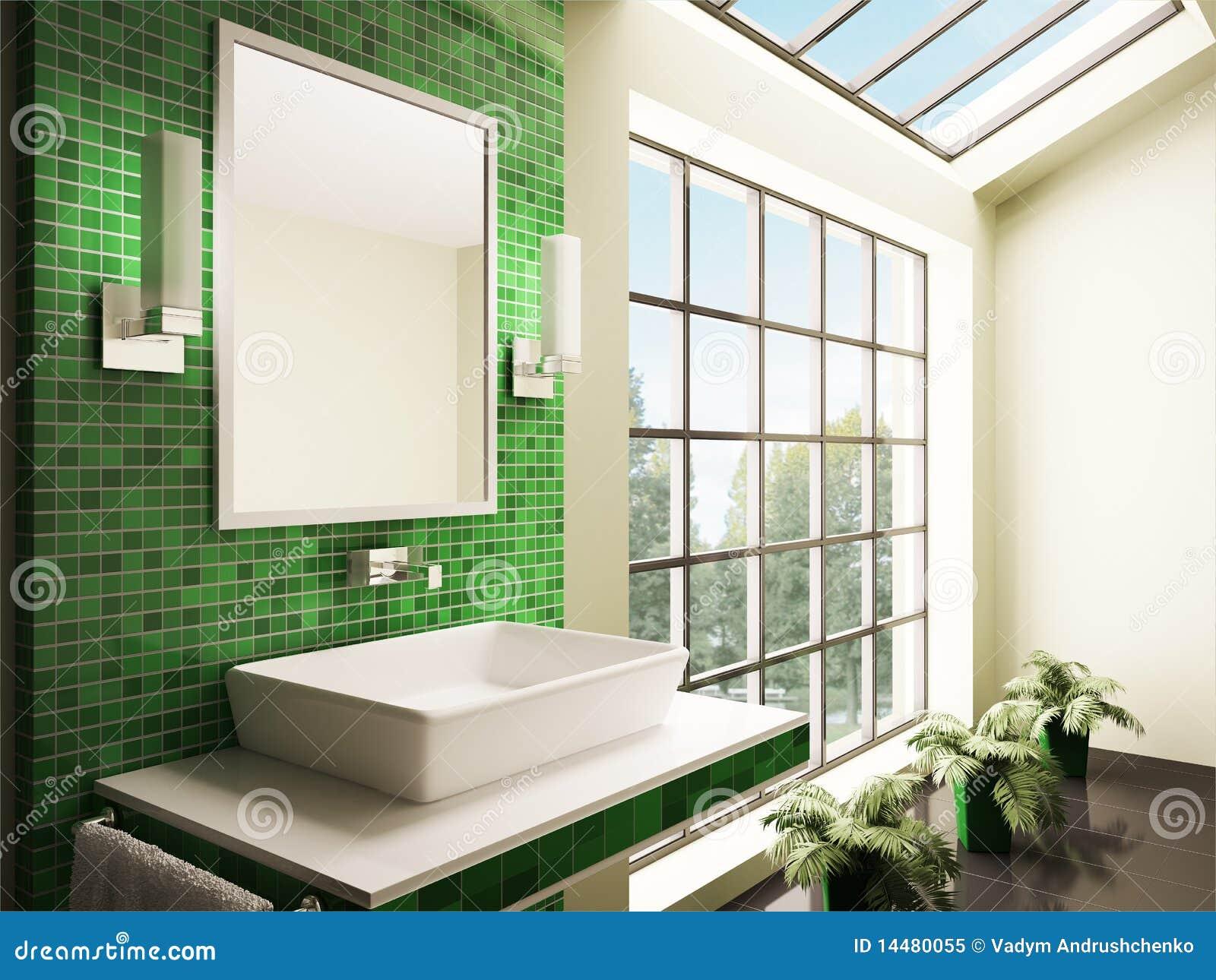 Cuarto de ba o con la ventana grande 3d interior foto de for Cuartos de bano grandes