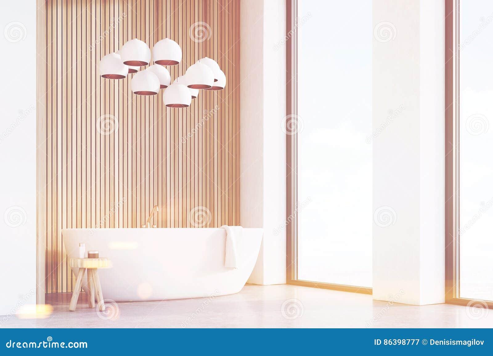 Cuarto De Baño Con Las Lámparas, Madera Ligera, Esquina ...
