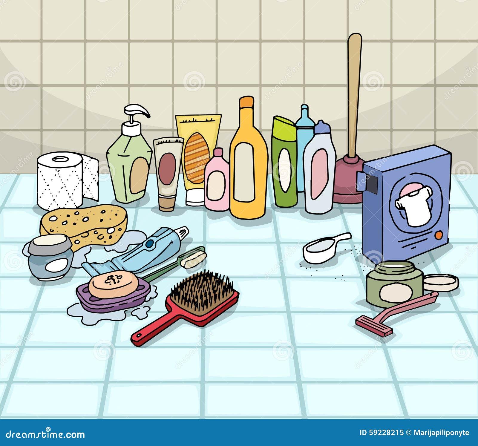 Download Cuarto De Baño, Con Los Objetos De Los Variuos Ilustración del Vector - Ilustración de indoor, objetos: 59228215