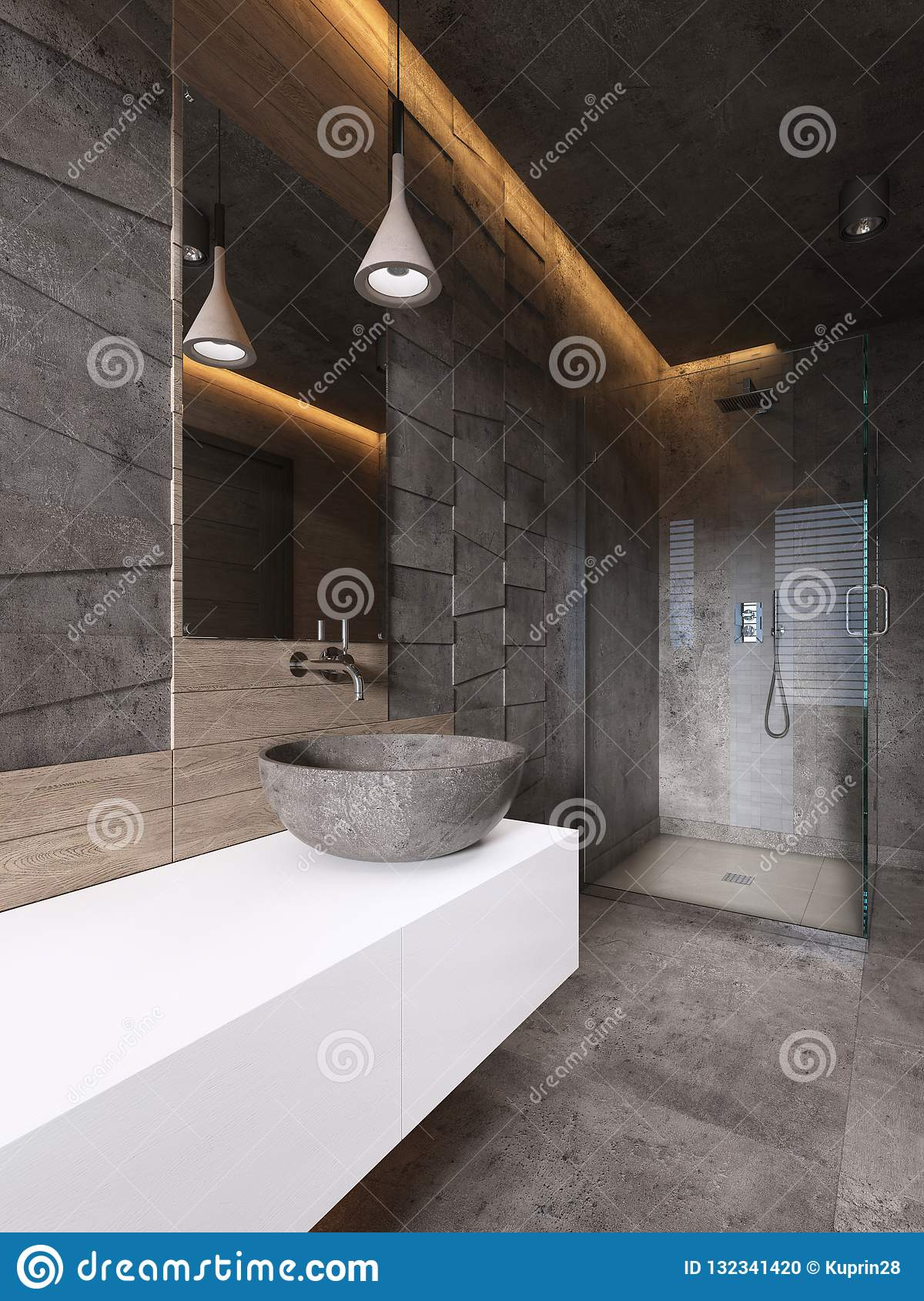 Cuarto De Baño Contemporáneo En Tonos Oscuros Con La ...
