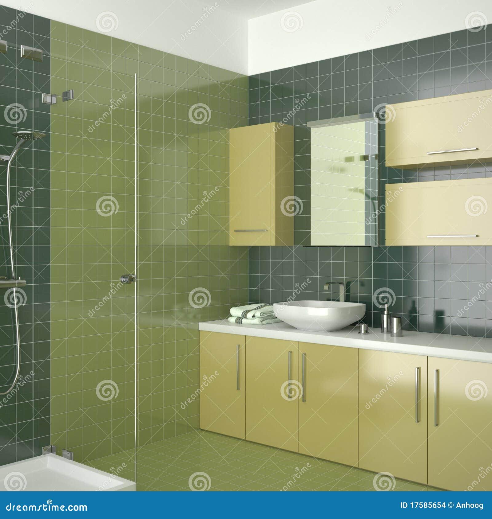 Cuarto De Baño Contemporáneo Verde Con Muebles Amarillos Imagenes de