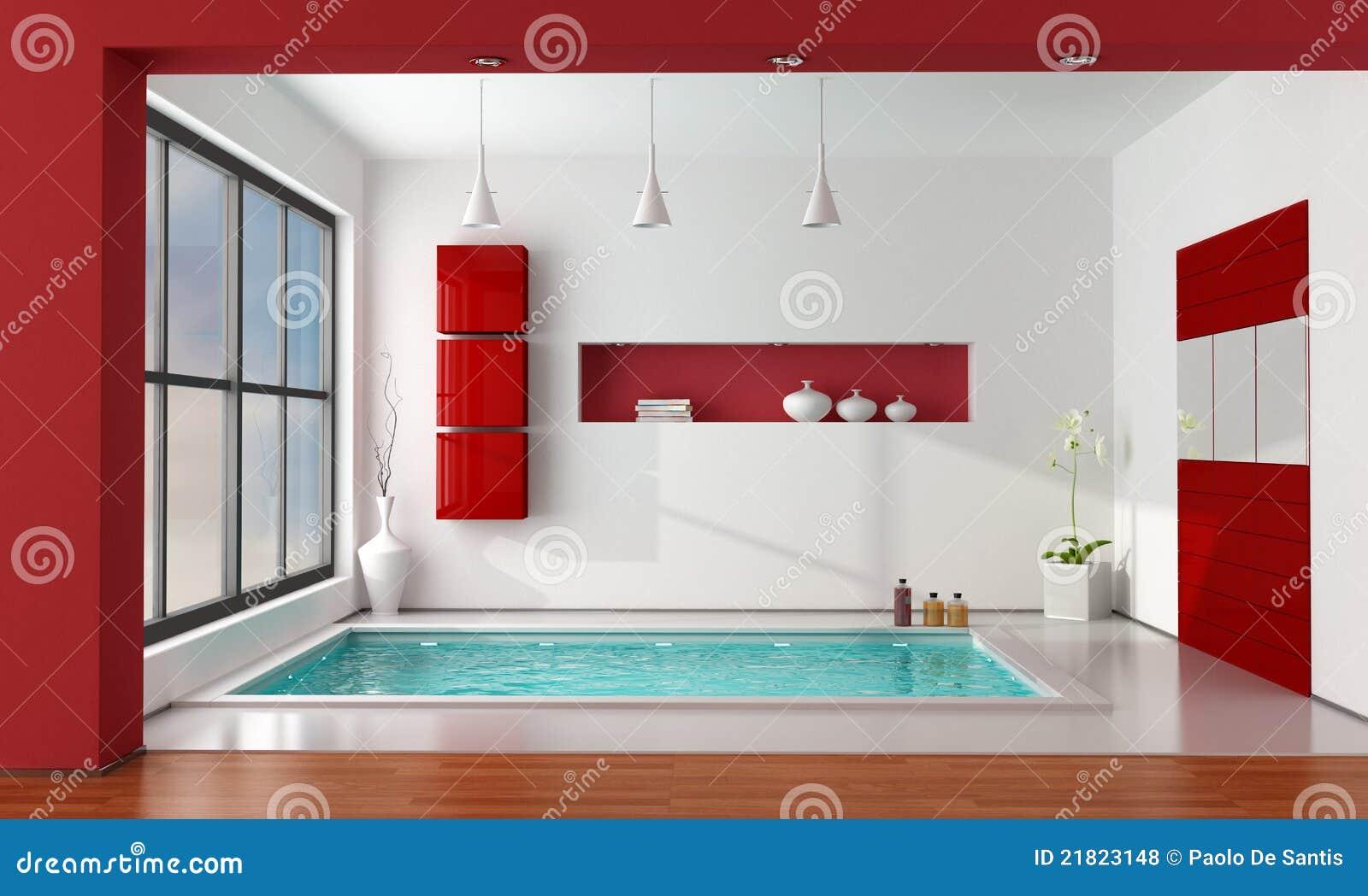 Baño Minimalista Rojo: de archivo libres de regalías: Cuarto de baño de lujo rojo y blanco