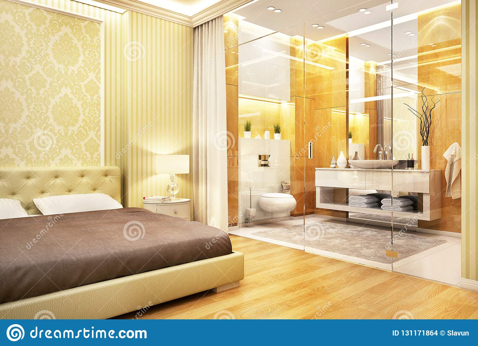 Cuarto De Baño Del Diseño Moderno En Dormitorio Foto de ...