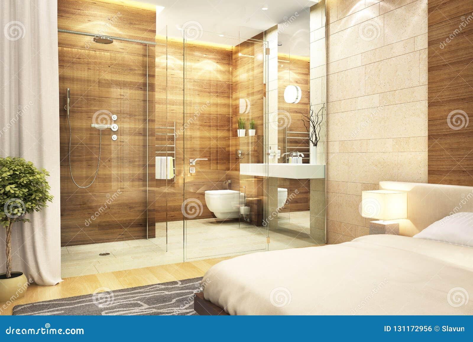 Cuarto De Baño Del Diseño Moderno En Dormitorio Foto de archivo ...