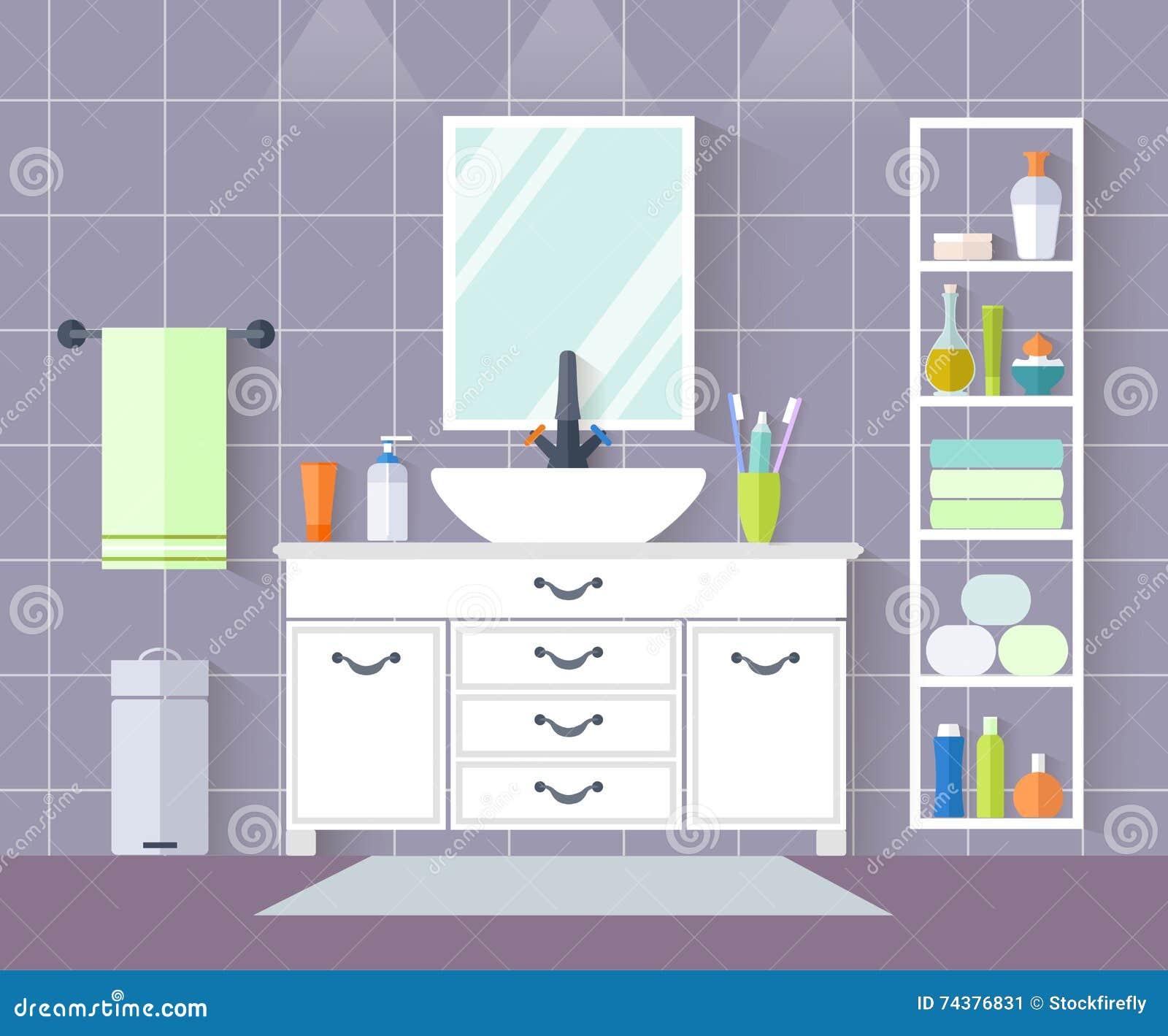 Cuarto De Baño Del Vector Diseño Interior Con Muebles En Estilo ...