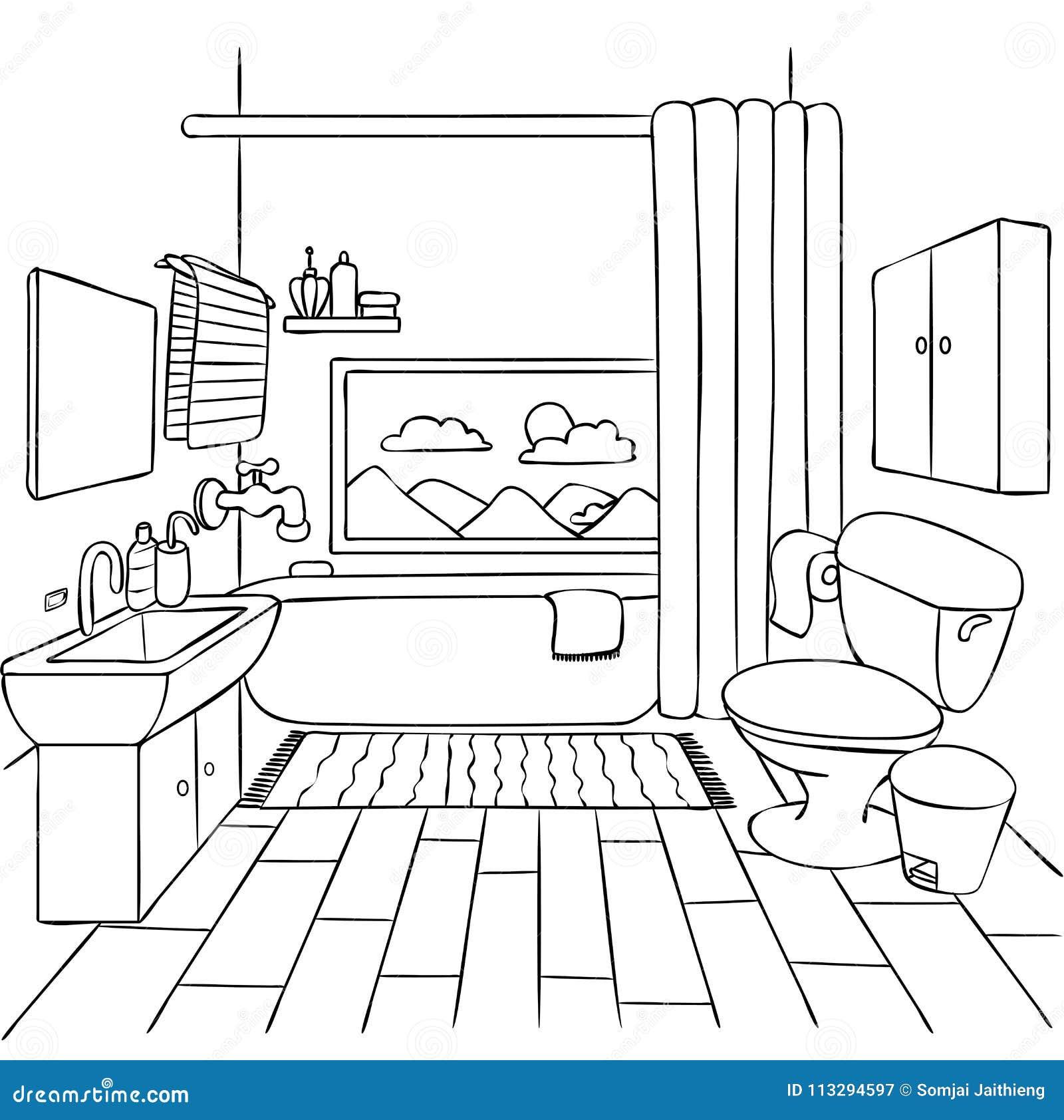 Cuarto De Baño Dibujado Mano Para El Elemento Del Diseño Y ...