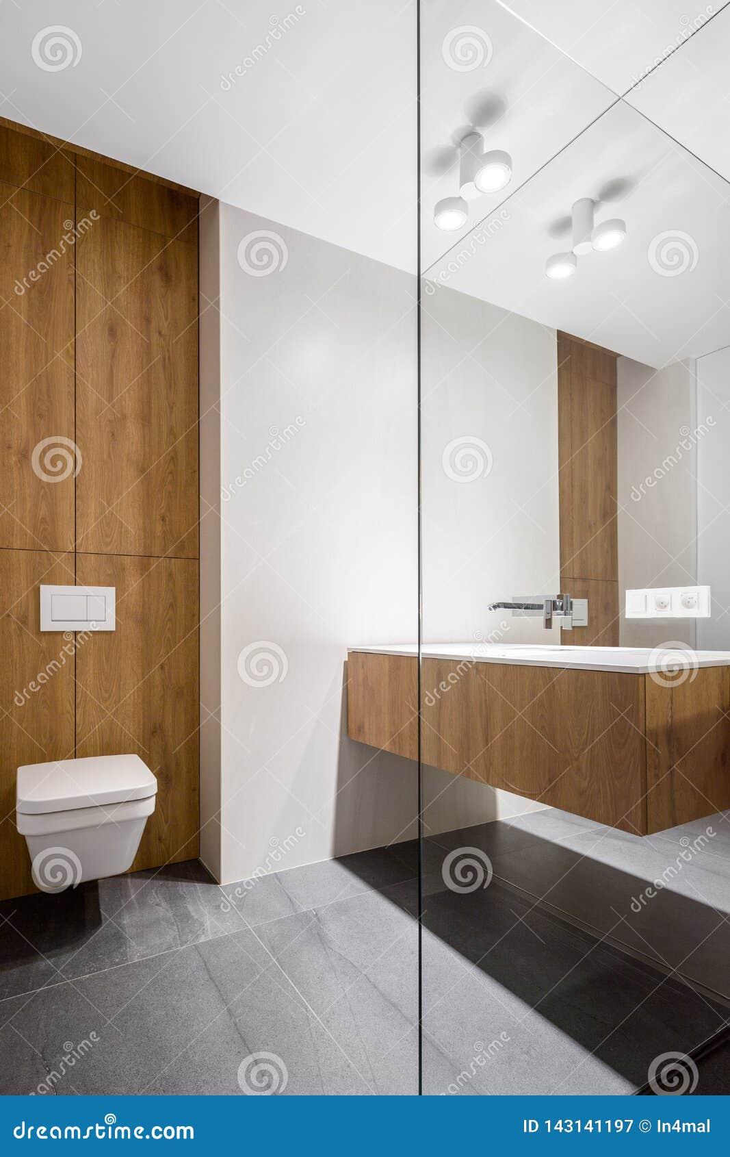 Cuarto de baño elegante con el retrete cúbico