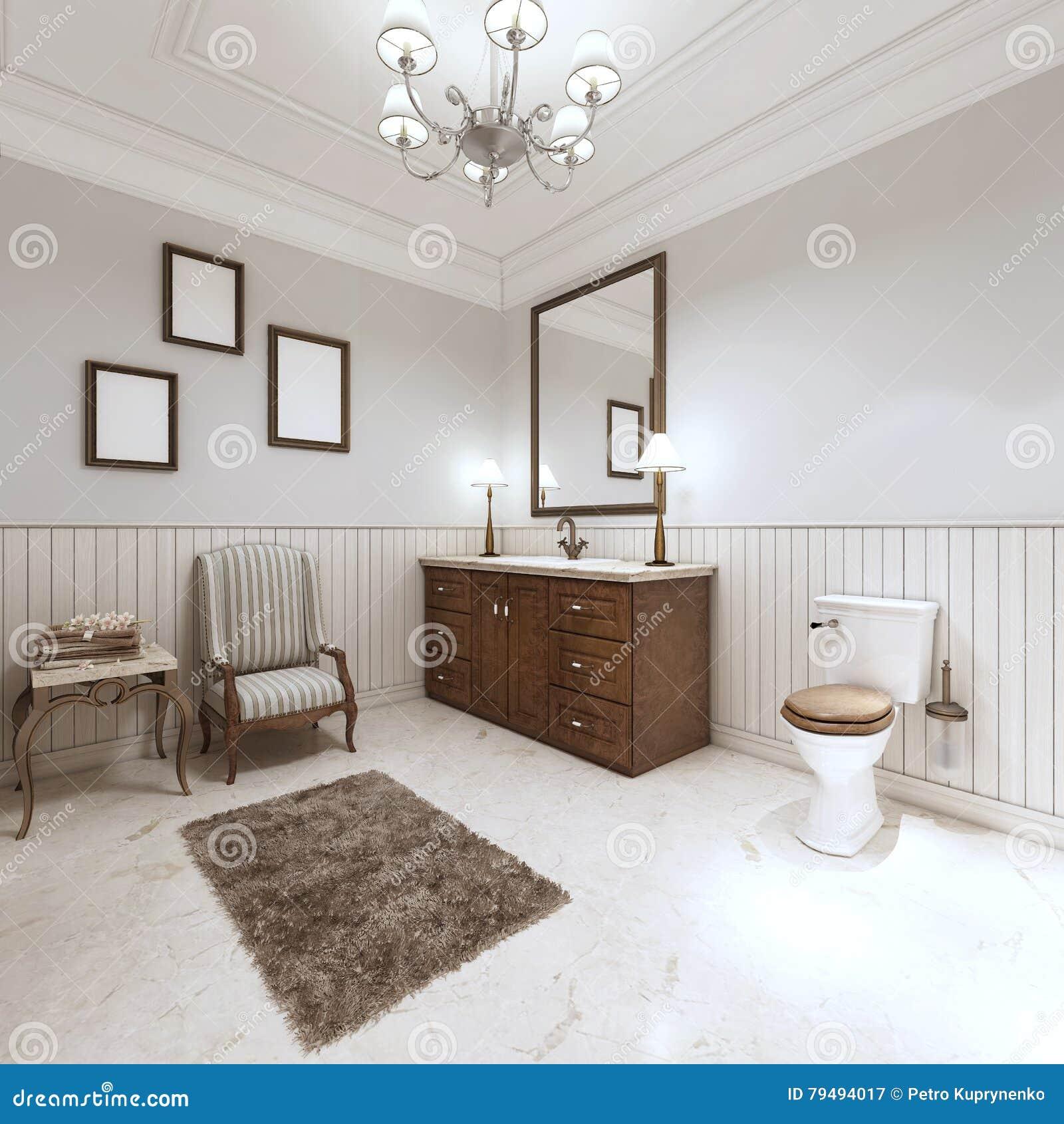 Cuarto de baño en estilo moderno con el baño del fregadero y retrete con un comfor