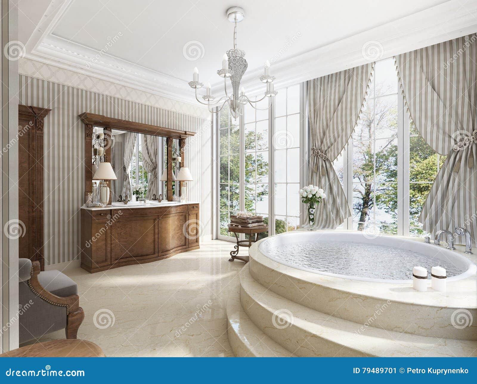 Cuarto de ba o en estilo neocl sico de lujo con tinas de - Casa stile neoclassico ...