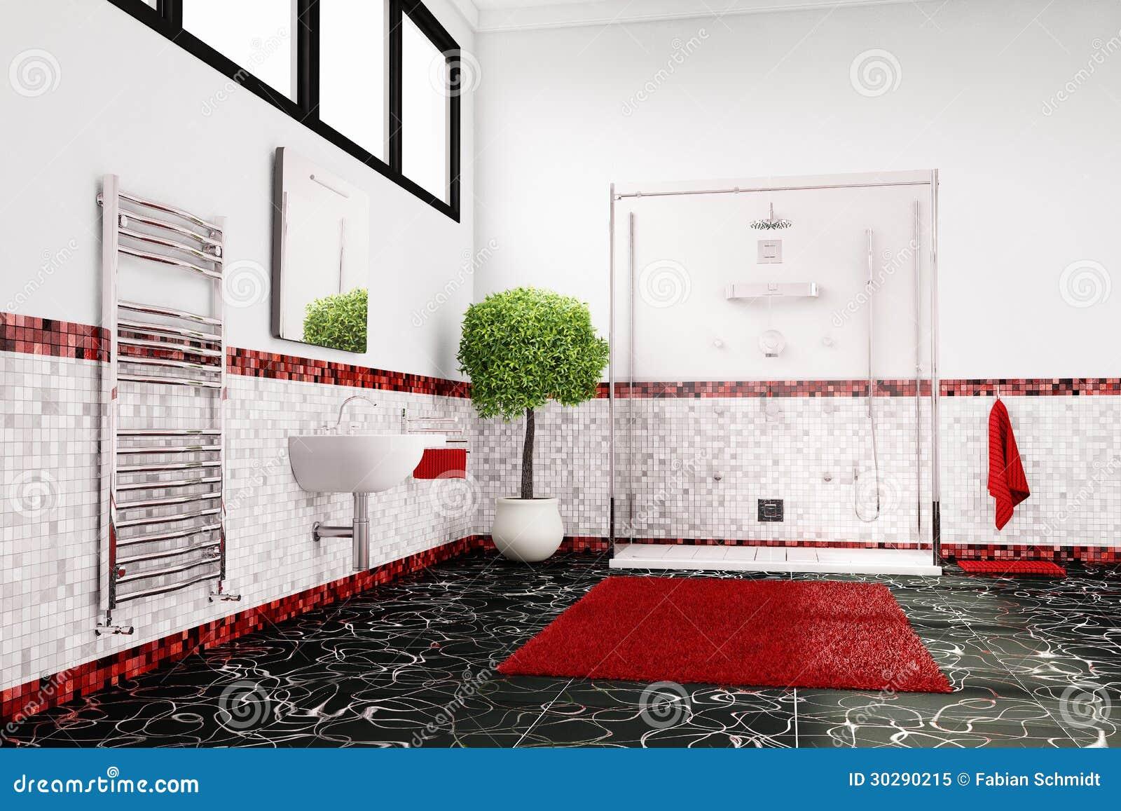Cuarto de ba o en rojo blanco y negro foto de archivo for Cuarto negro y rojo