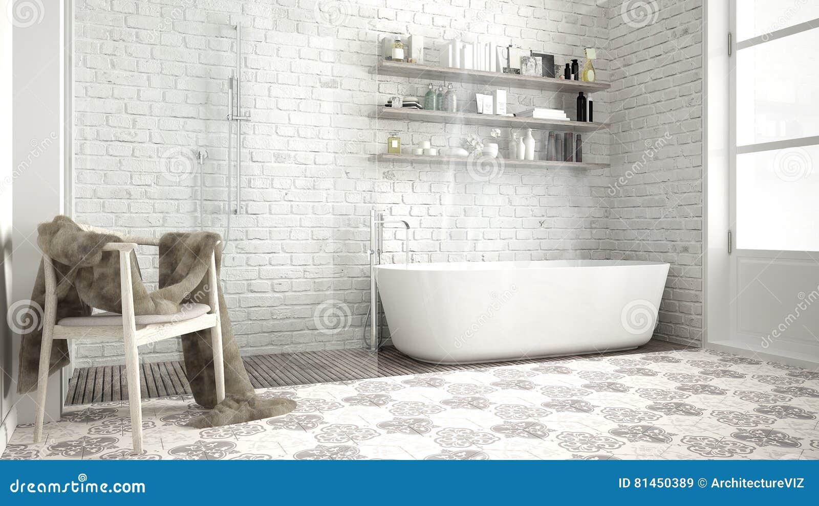 Cuarto De Baño Escandinavo, Diseño Blanco Clásico Del Vintage Imagen ...