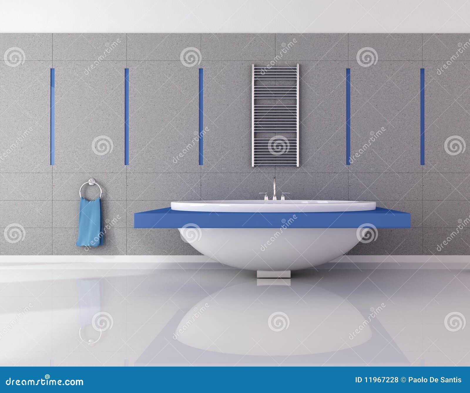 Cuarto de ba o esencial azul y del gris fotos de archivo for Banos azules y grises