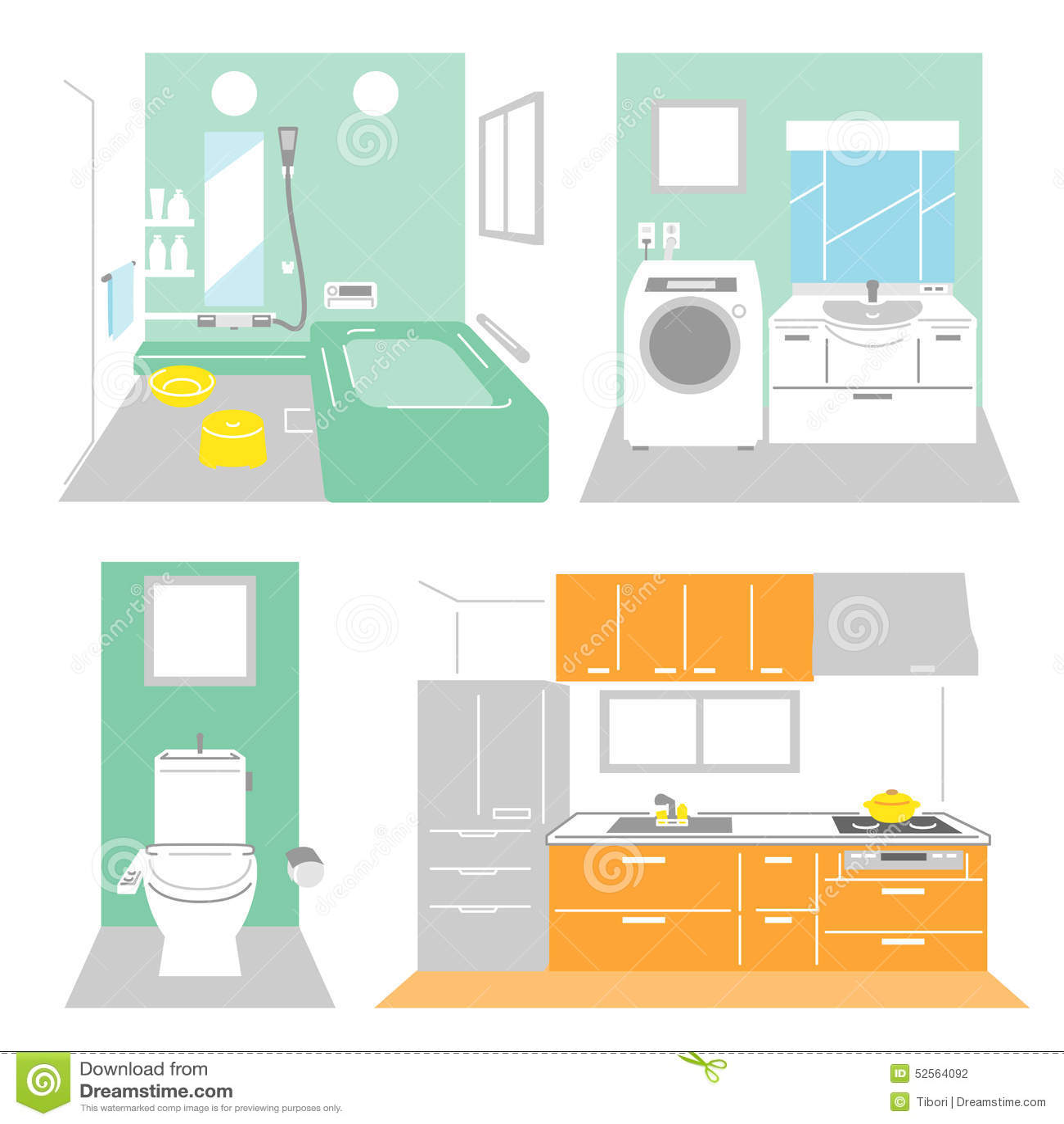 Cuarto de ba o lavadero cocina ilustraci n del vector for Lavadero de bano precio