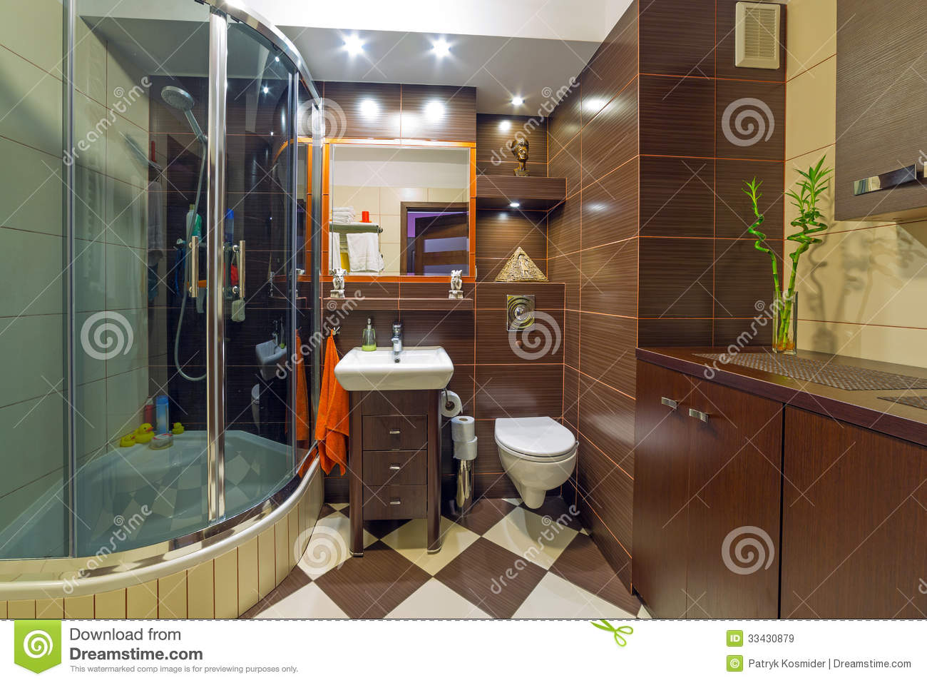 Baños Modernos Beige:Modern Brown and Beige Bathroom
