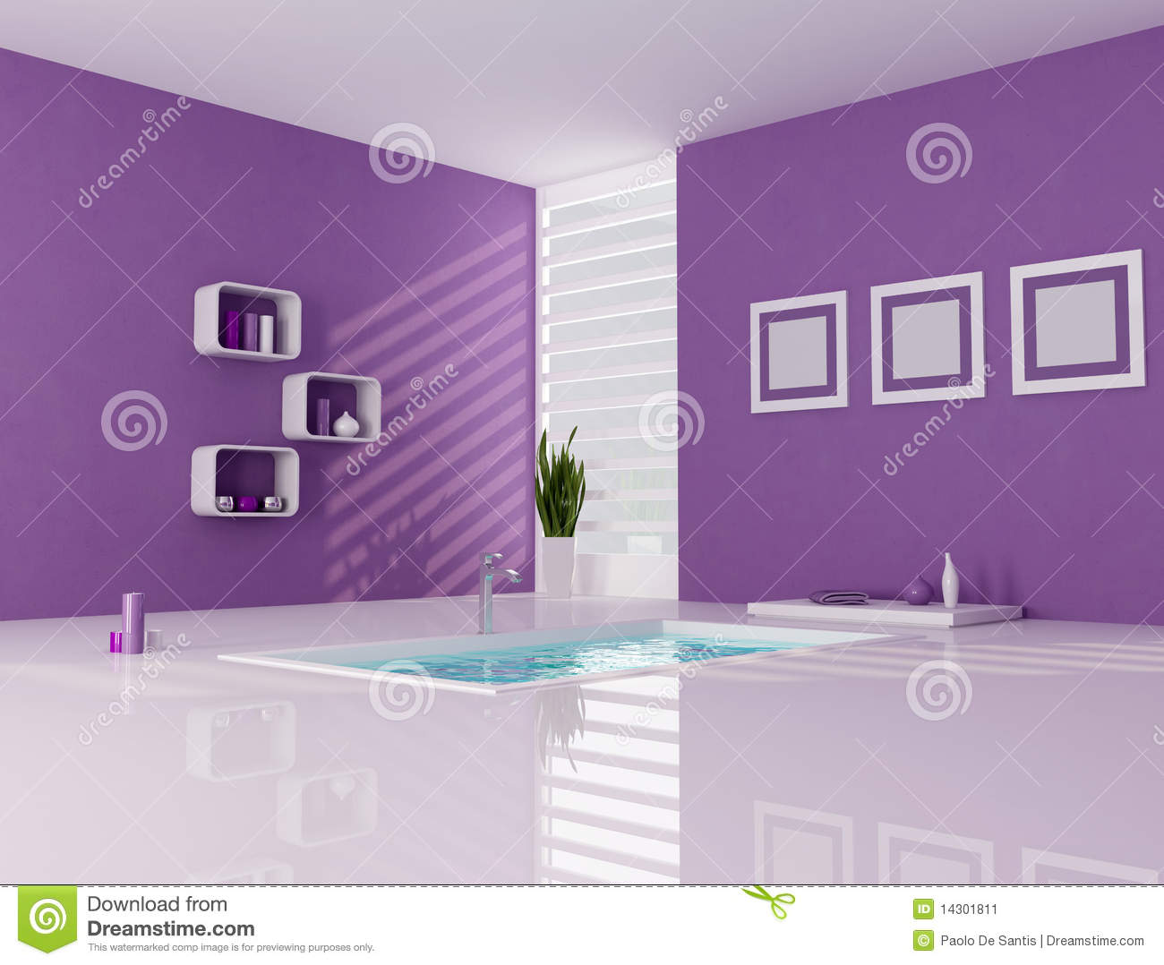 Baño Minimalista Blanco:Purple and White Bathroom