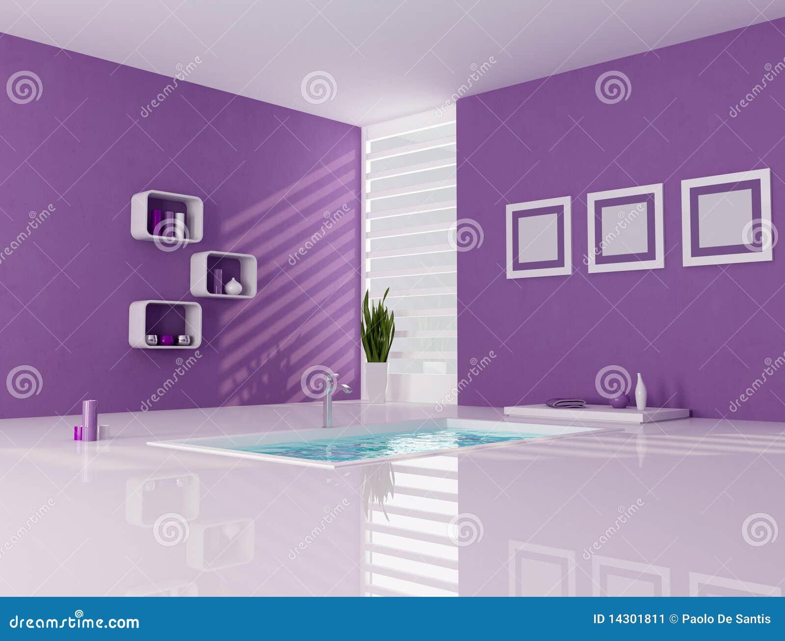 Baño Minimalista Rojo:Purple and White Bathroom