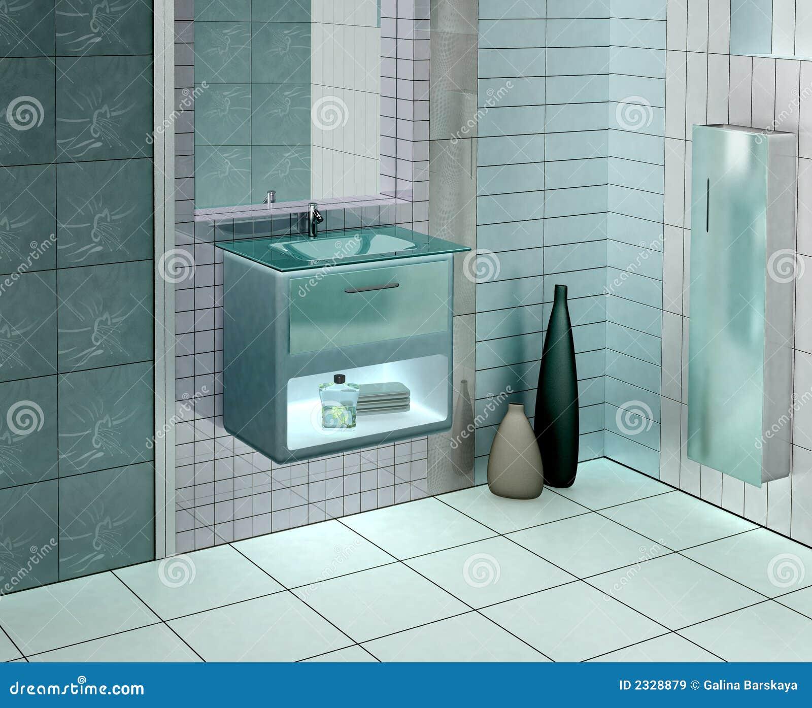 Cuarto De Baño Moderno Fotos:3D de un cuarto de baño moderno con la vanidad de cristal La foto
