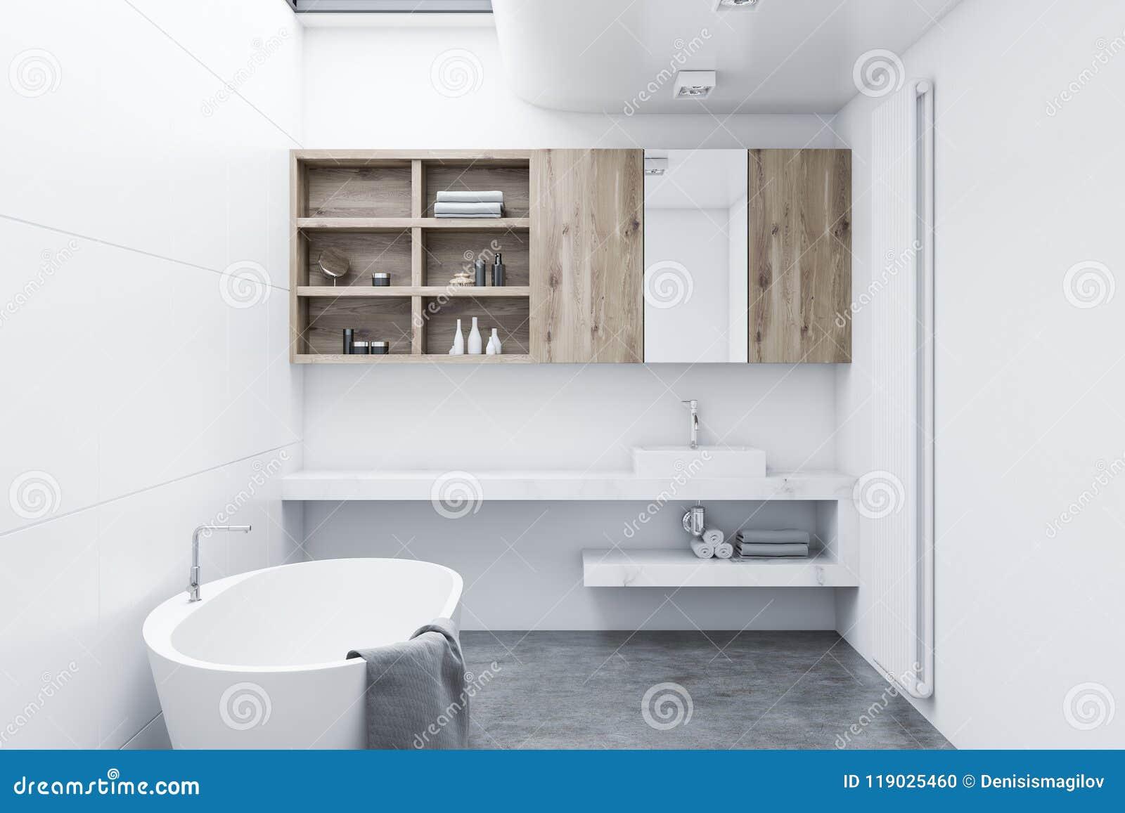 Cuarto de ba o moderno blanco gabinetes de madera stock for Gabinete de almacenamiento de bano de madera