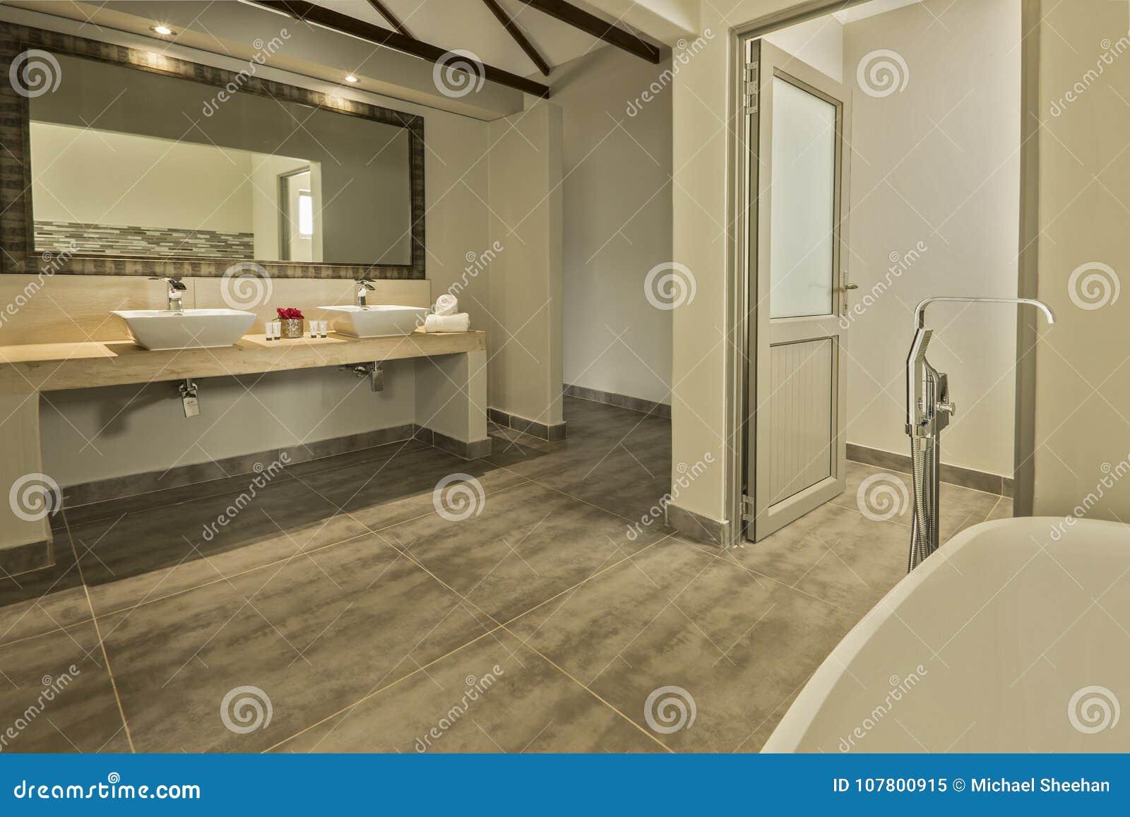 Cuarto De Baño Moderno Con Dos Lavabos Y Un Baño Imagen de archivo ...
