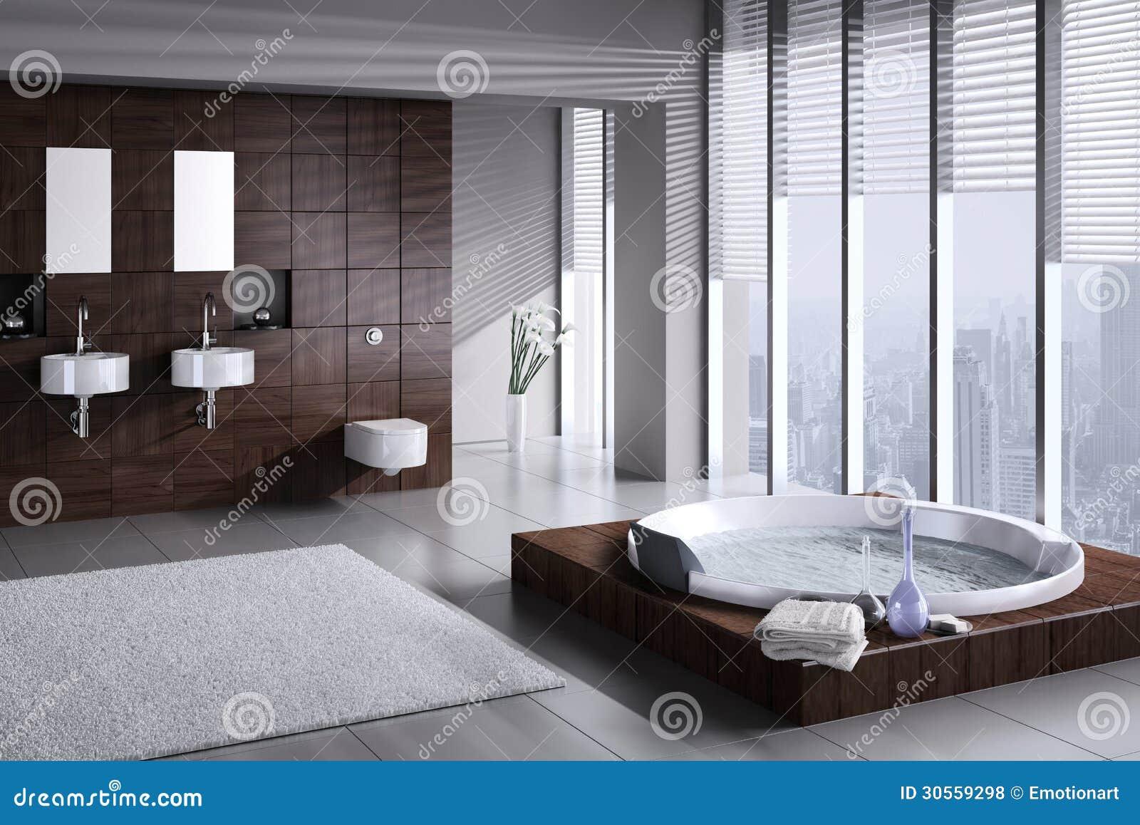 Cuarto de ba o moderno con el lavabo y el jacuzzi dobles for Jacuzzi interior precios