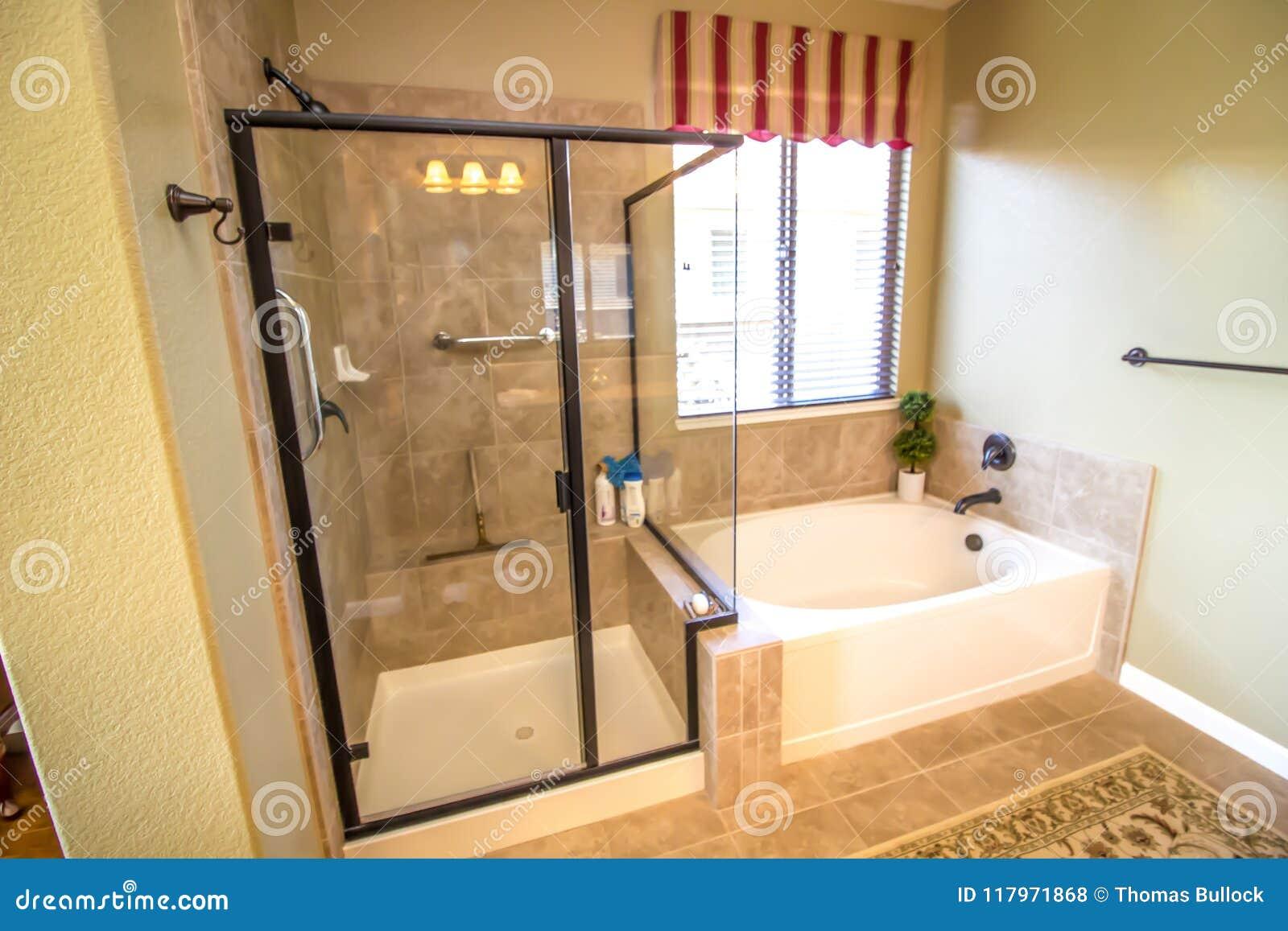 Cuarto de ba o moderno con la ducha y la tina foto de for Fotos de cuartos de bano con ducha modernos