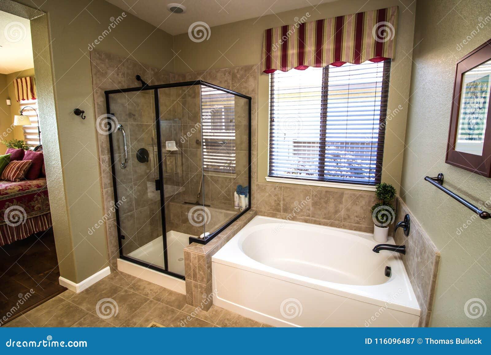 Cuarto de ba o moderno con la ducha y la tina de cristal for Cuartos de bano modernos con ducha