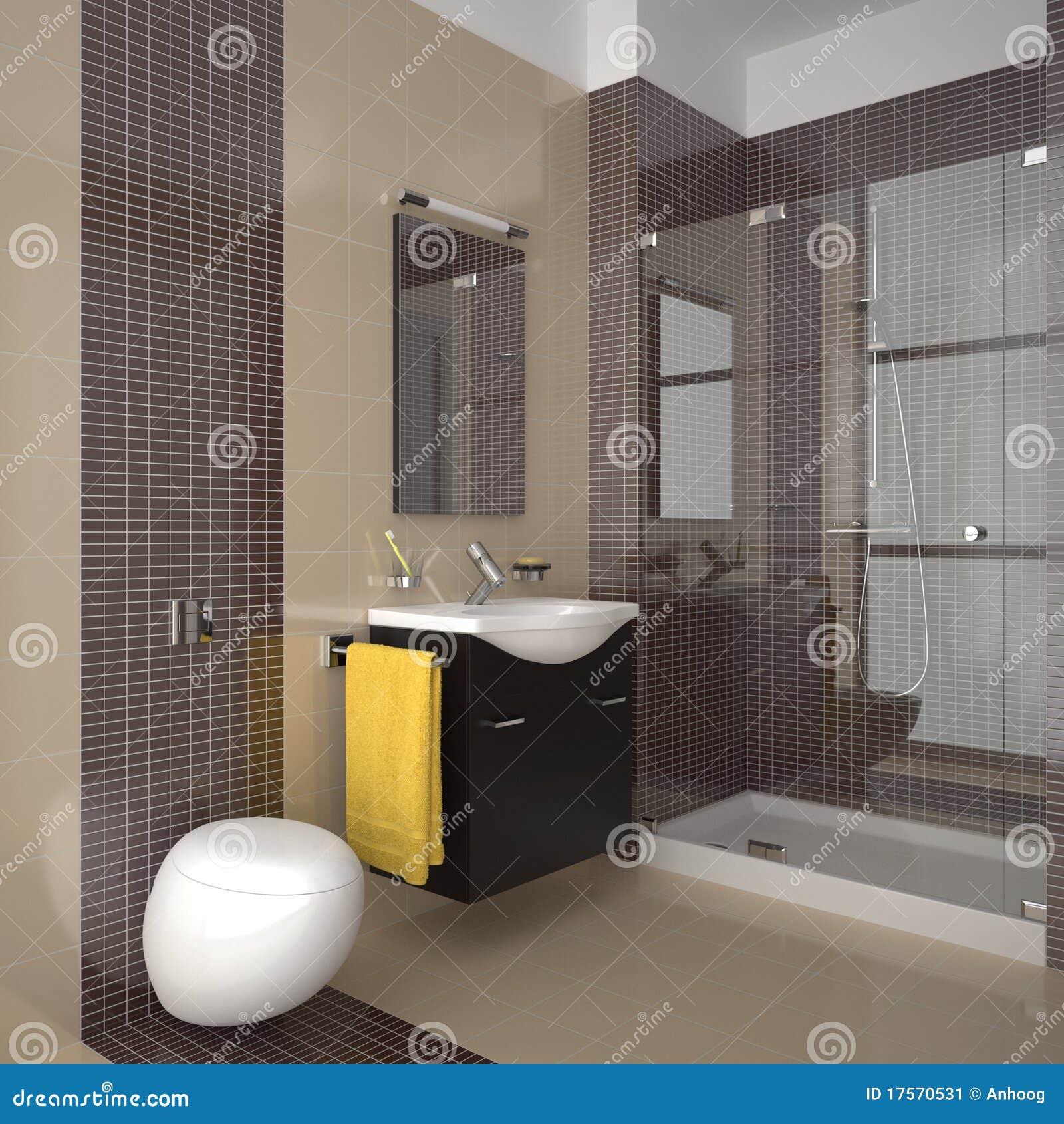 cuarto de bao moderno con los azulejos amarillentos y marrones - Azulejos Cuarto De Bao