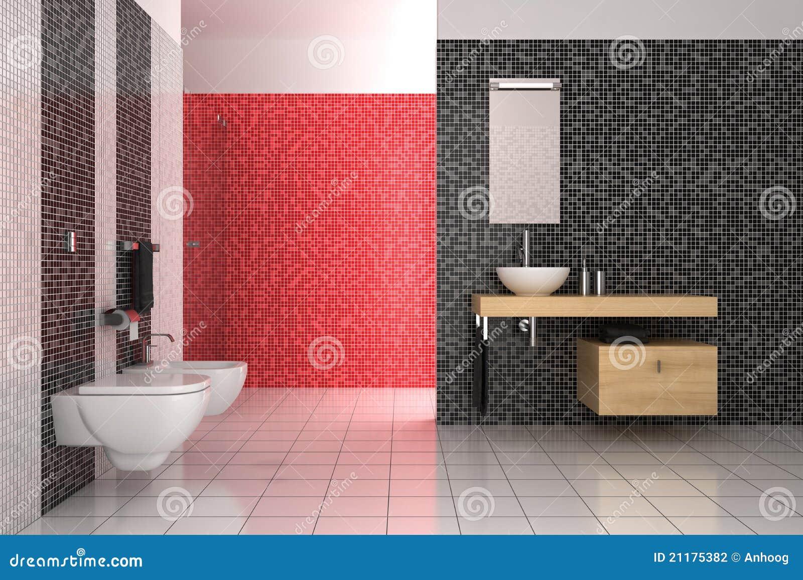 Cuarto De Baño Moderno Con Los Azulejos Negros, Rojos Y Blancos ...
