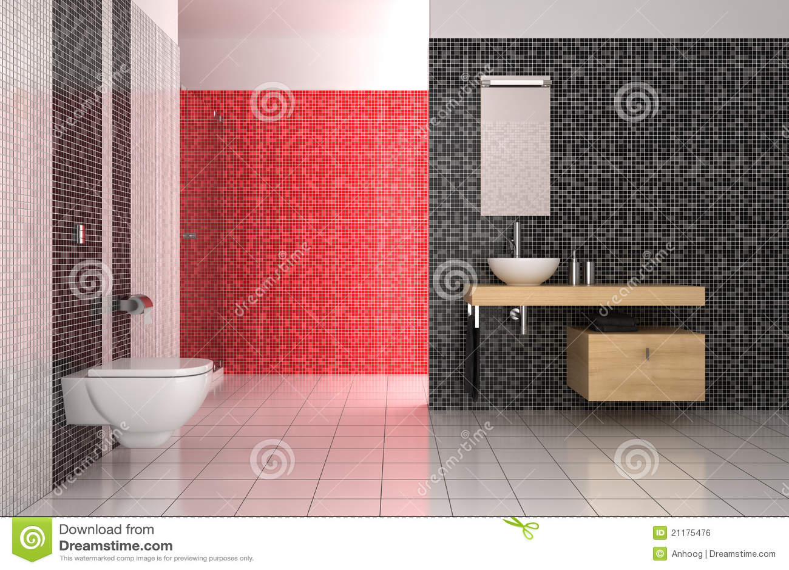 Cuarto de ba o moderno con los azulejos negros rojos y - Azulejos cuartos de bano modernos ...