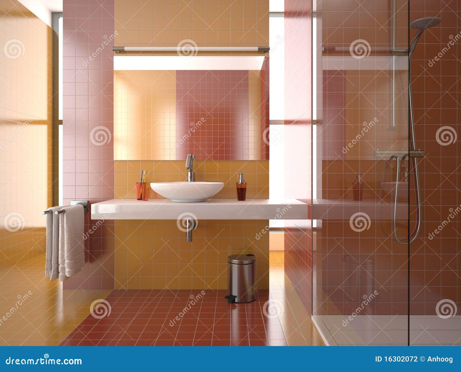 Baños Modernos Rojos:Cuarto de baño moderno con los azulejos rojos y anaranjados (visión