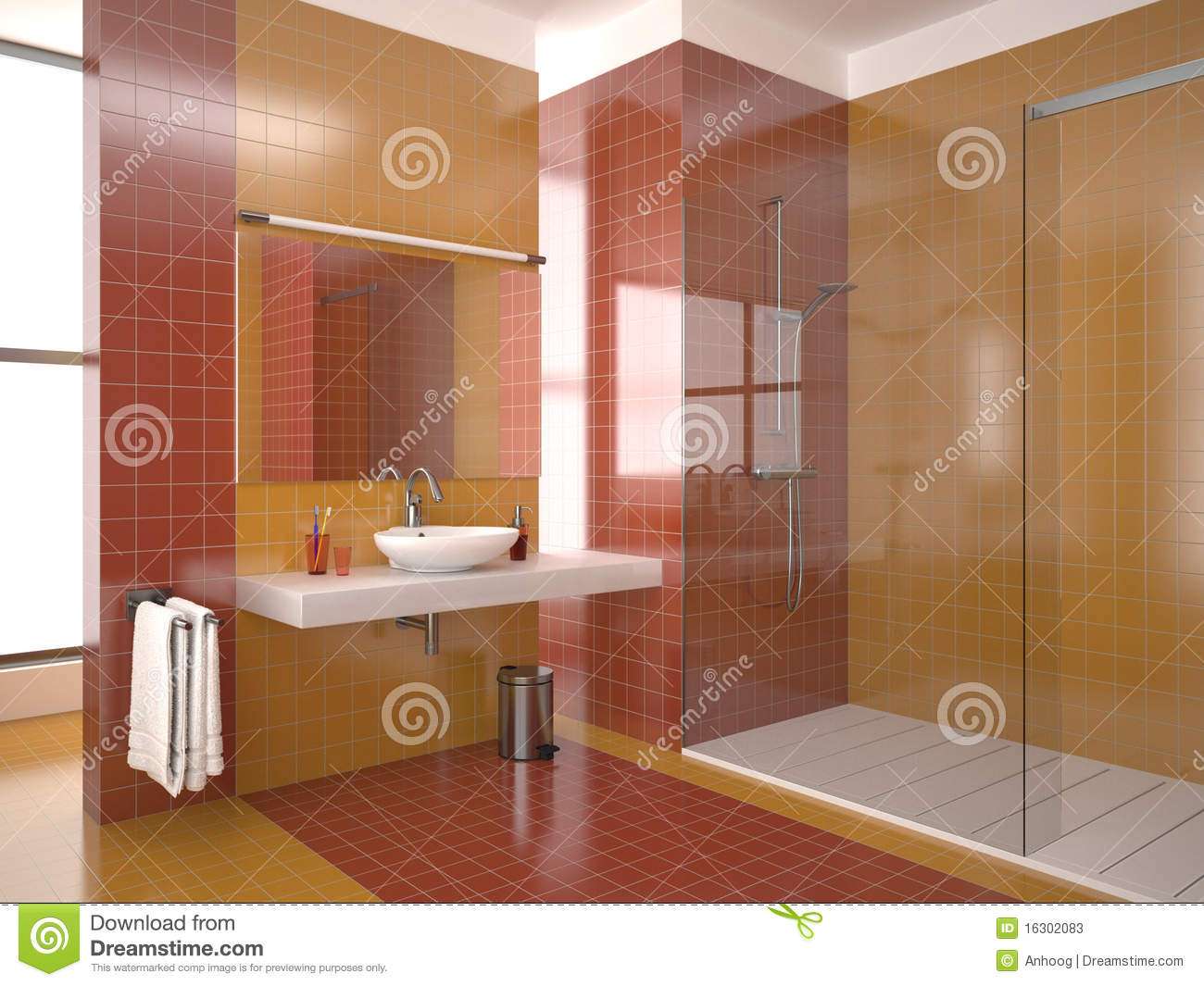 Baños Modernos Rojos:Orange and Red Bathroom Tile